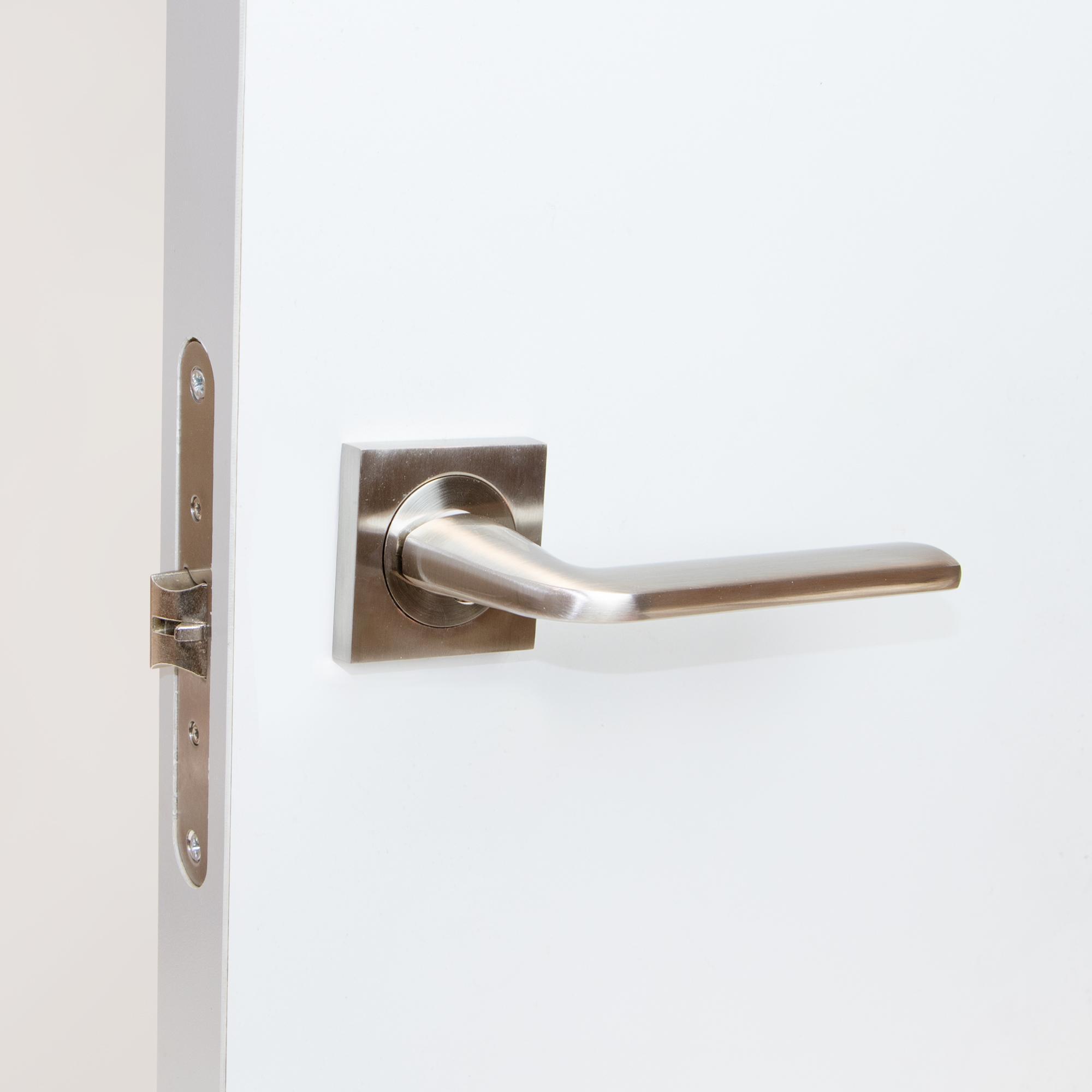 Emuca Manetas para puertas de interior N/íquel satinado. juego de manillas para puerta de paso con roseta D.50 mm Aluminio