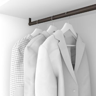 Emuca Wardrobe hanging rail, round, D. 28 mm