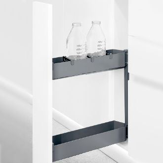 Emuca Titane Pull out Bottle rack with soft closing for kitchen cabinet
