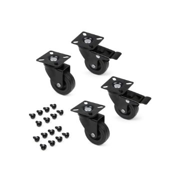 Black caster wheels with a mounting plate