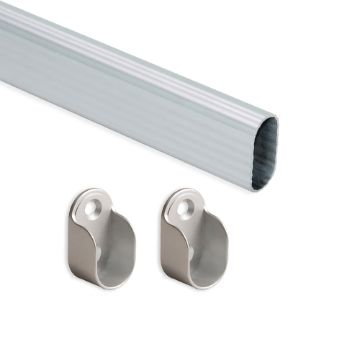 Emuca Oval wardrobe hanging rail kit, 30x15 mm, Aluminium