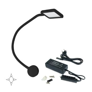 Emuca Kuma LED reading light, square, fexible arm, 2 USB and voltage converter