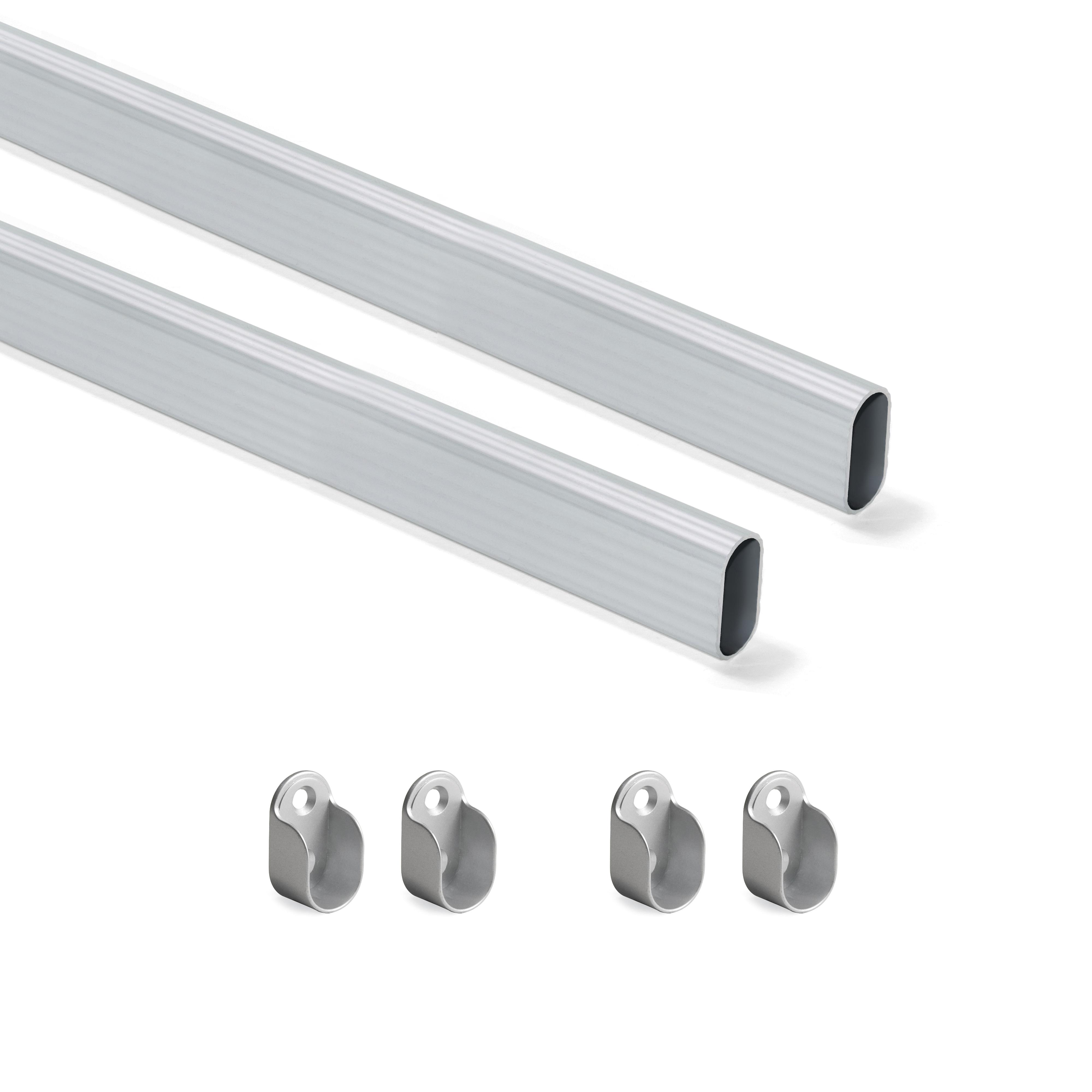 Emuca Kit tubo per armadio 30x15 mm