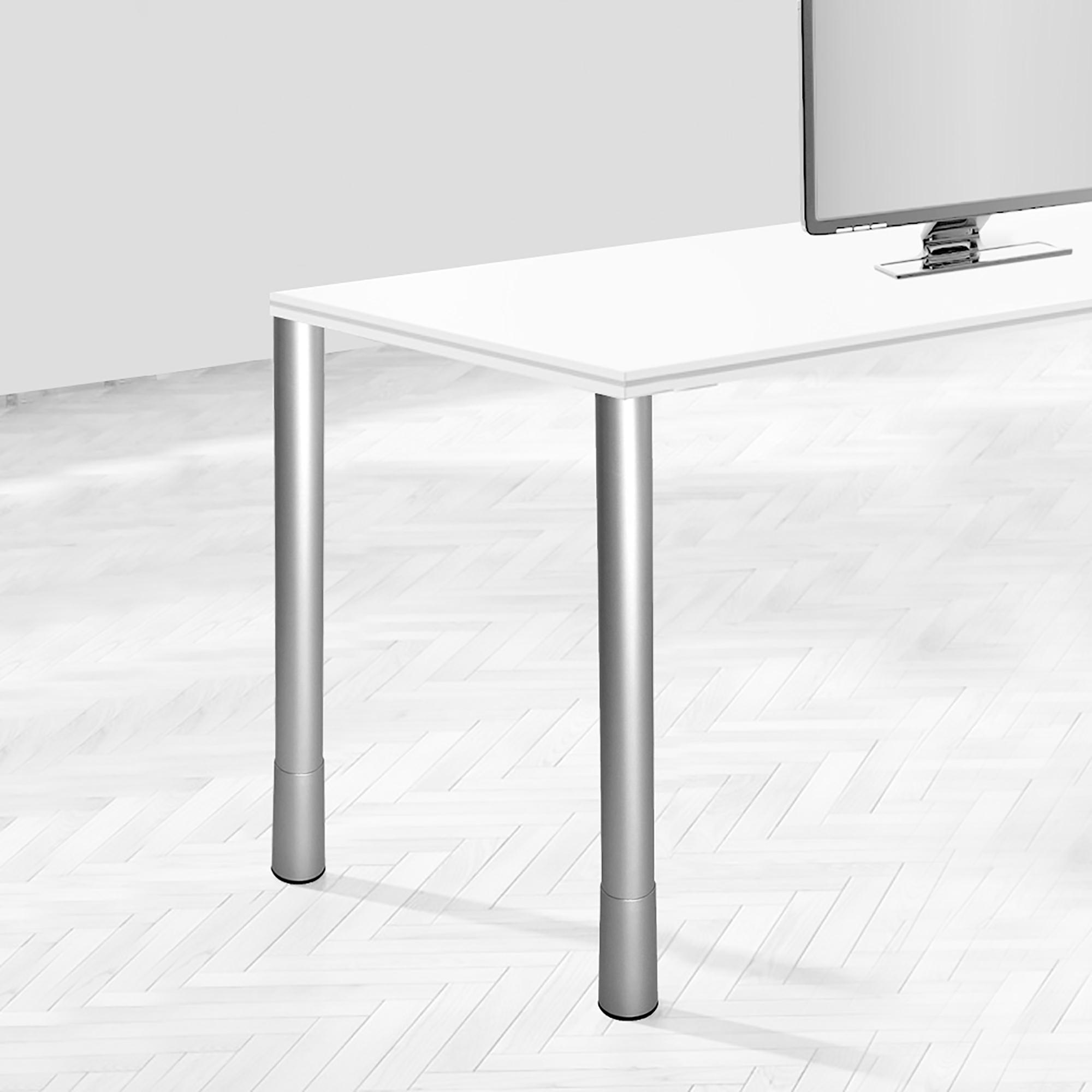 Emuca Gamba per tavolo, D. 60 mm, regolabili, 687-800 mm, Acciaio, Grigio metallizzato