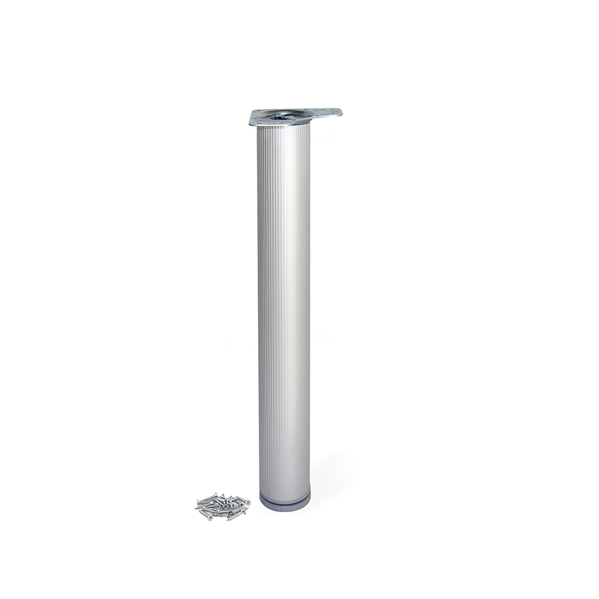 Emuca Gamba per tavolo, D. 80 mm, regolabile 710-730 mm, Alluminio, Anodizzato opaco