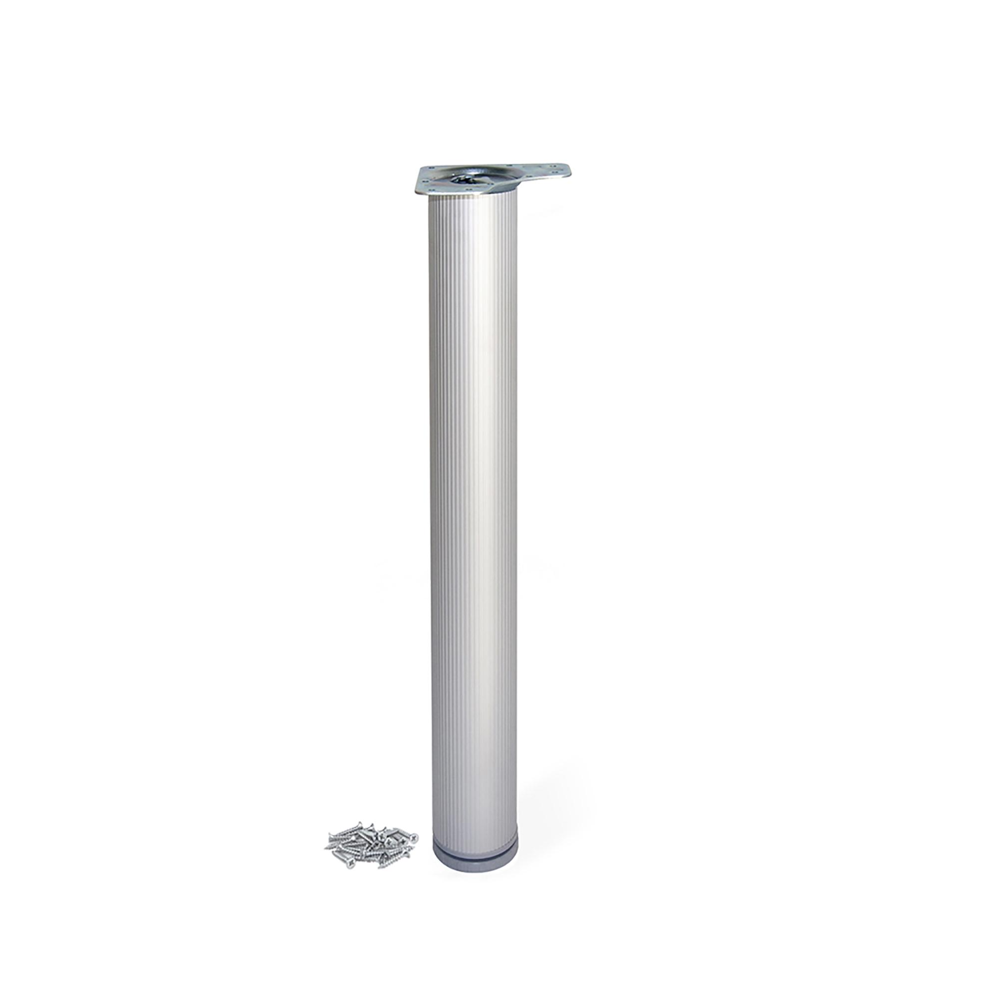 Emuca Gamba per tavolo, D. 80 mm, regolabile 830-850 mm, Alluminio, Anodizzato opaco