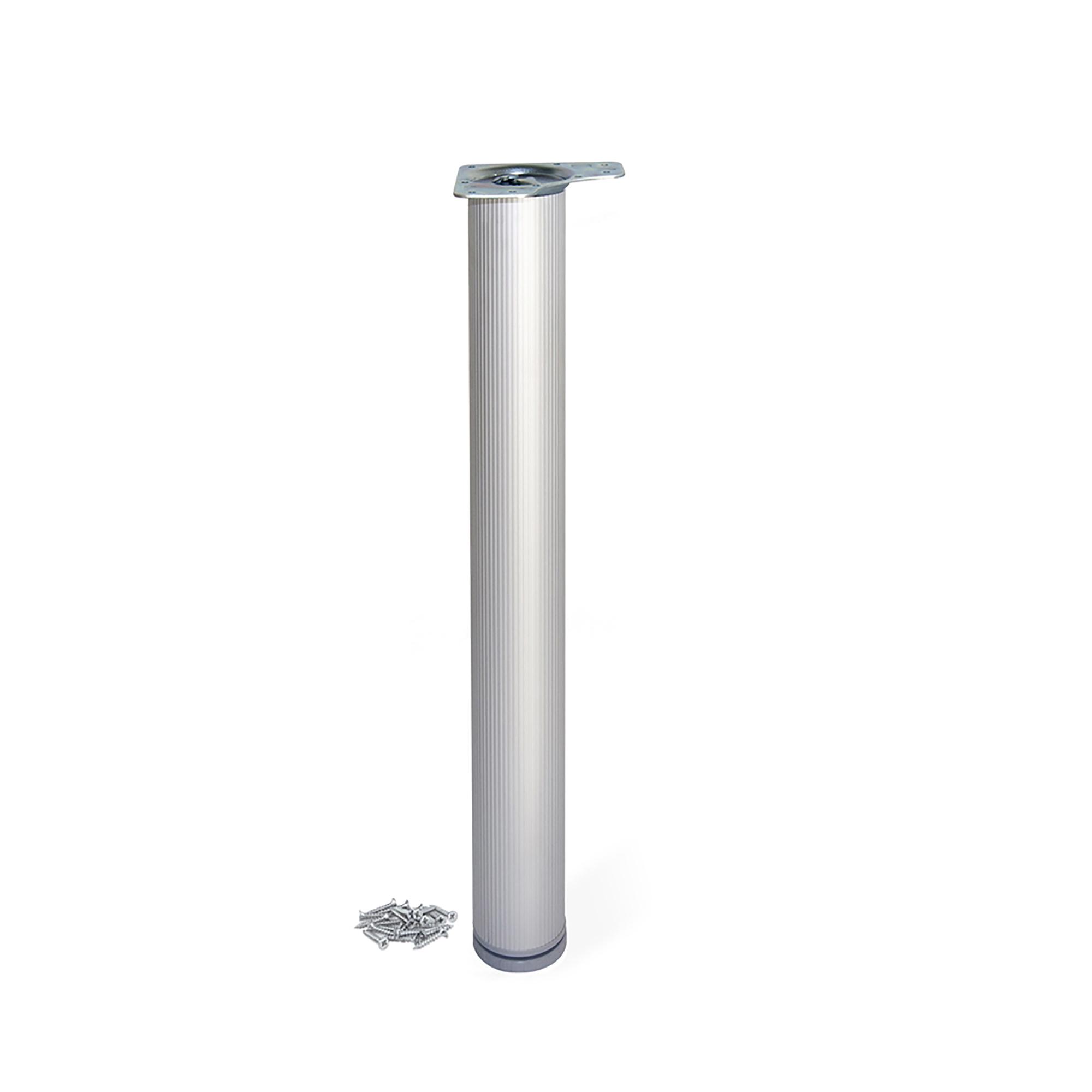 Emuca Gamba per tavolo, D. 80 mm, regolabile 870-900 mm, Alluminio, Anodizzato opaco