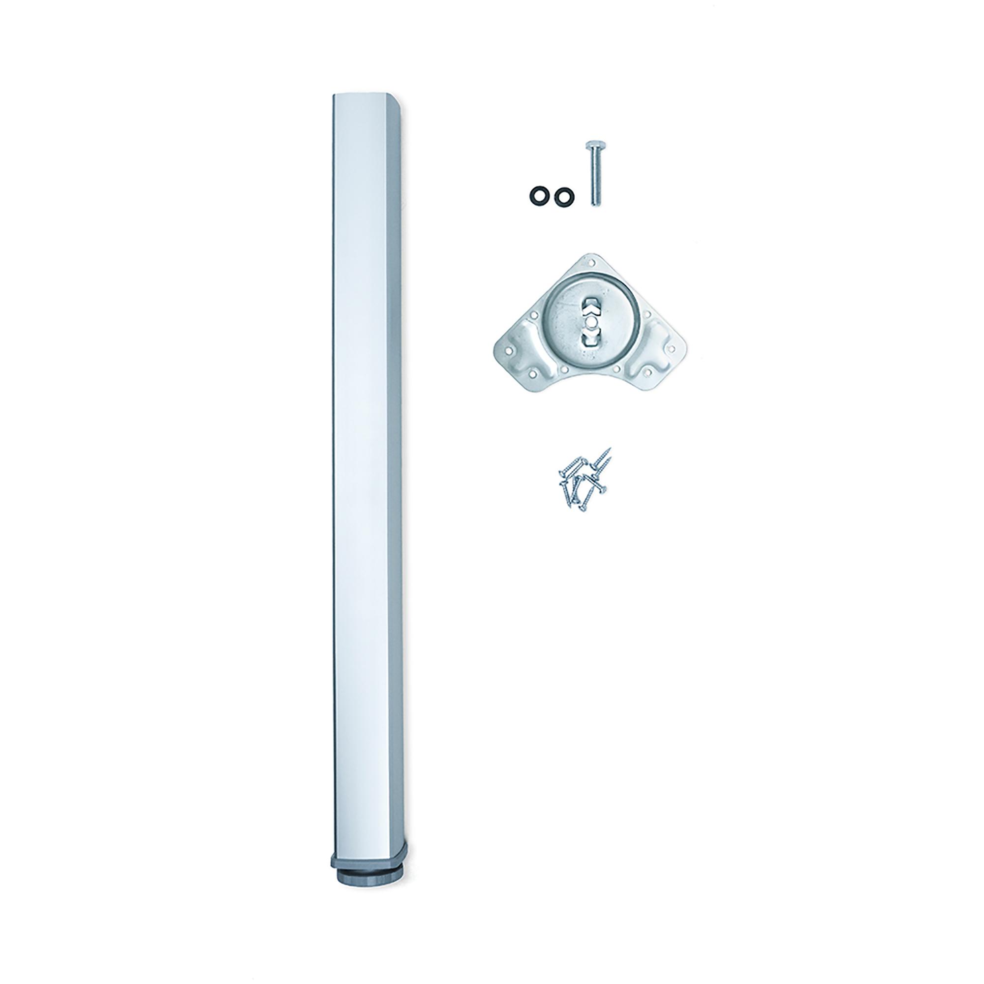 Emuca Gamba per tavolo, quadrata, regolabile 830-850 mm, Alluminio, Anodizzato opaco