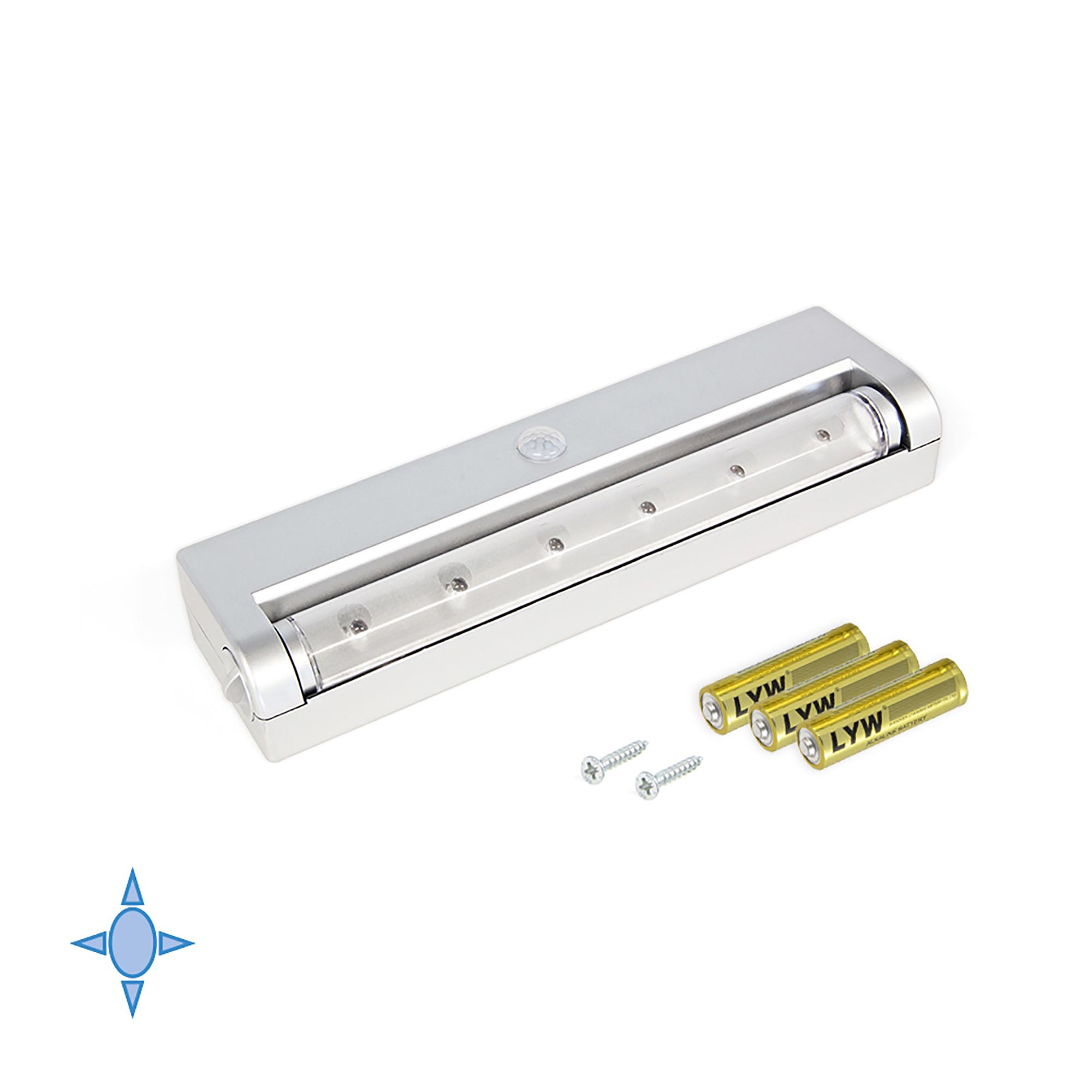Emuca Luce LED a batterie, sensore di movimento, Luce bianca fredda, Plastica, Grigio metallizzato