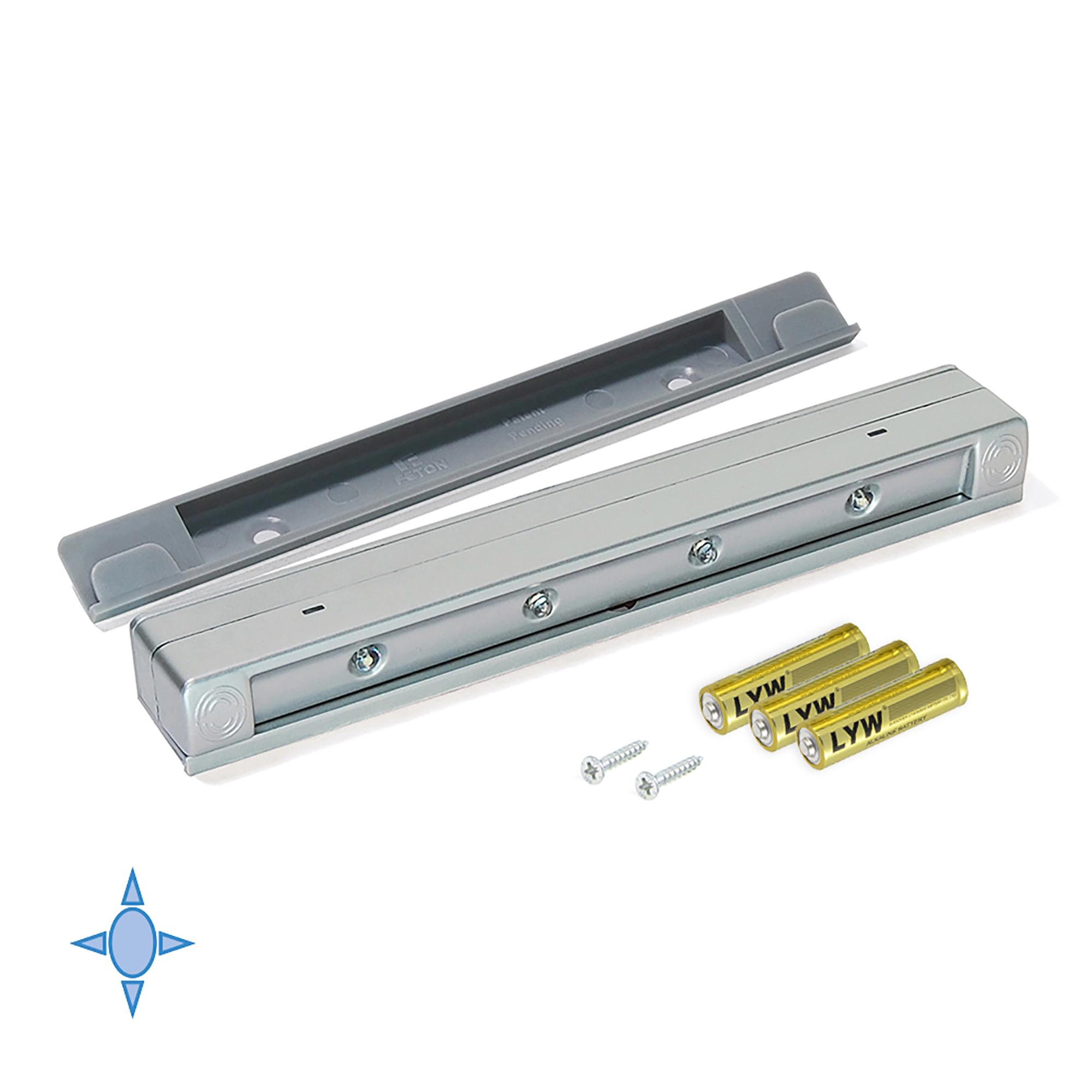 Emuca Luce LED a batterie per cassetti, sensore a vibrazione, Luce bianca fredda, Plastica, Grigio metallizzato