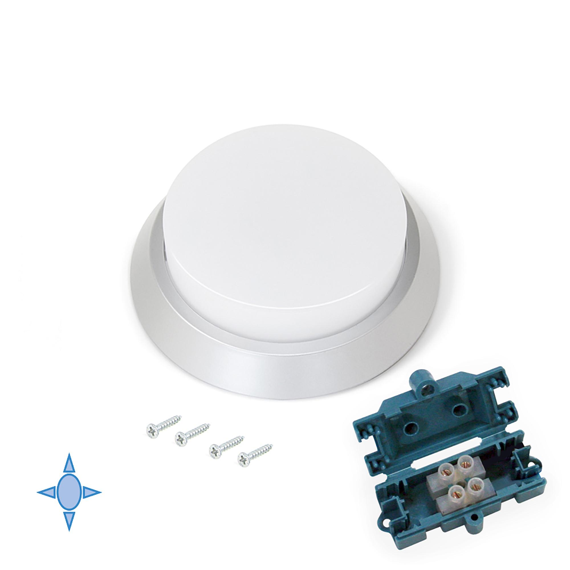 Emuca Faretto LED, D. 100 mm, di superficie, Luce bianca fredda, Plastica, Grigio metallizzato