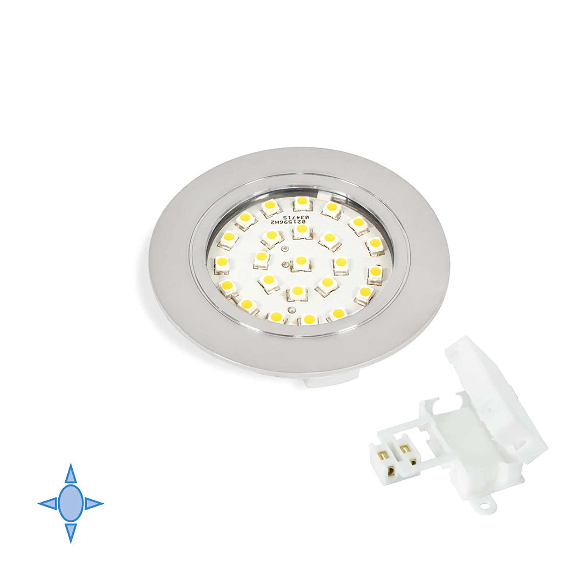 Emuca Faretto LED, D. 65 mm, a incasso, luce bianca fredda, Plastica, Grigio metallizzato