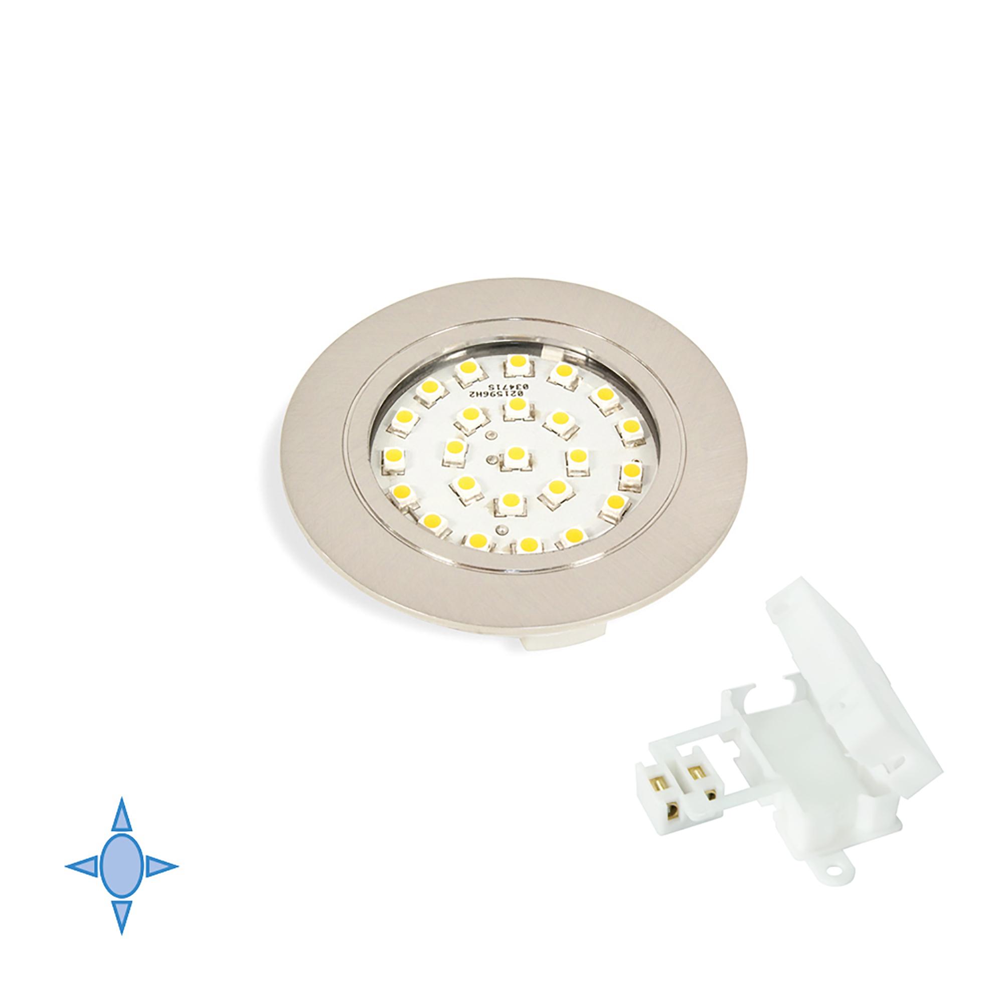 Emuca Faretto LED, D. 65 mm, a incasso, luce bianca fredda, Plastica, Nichel satinato