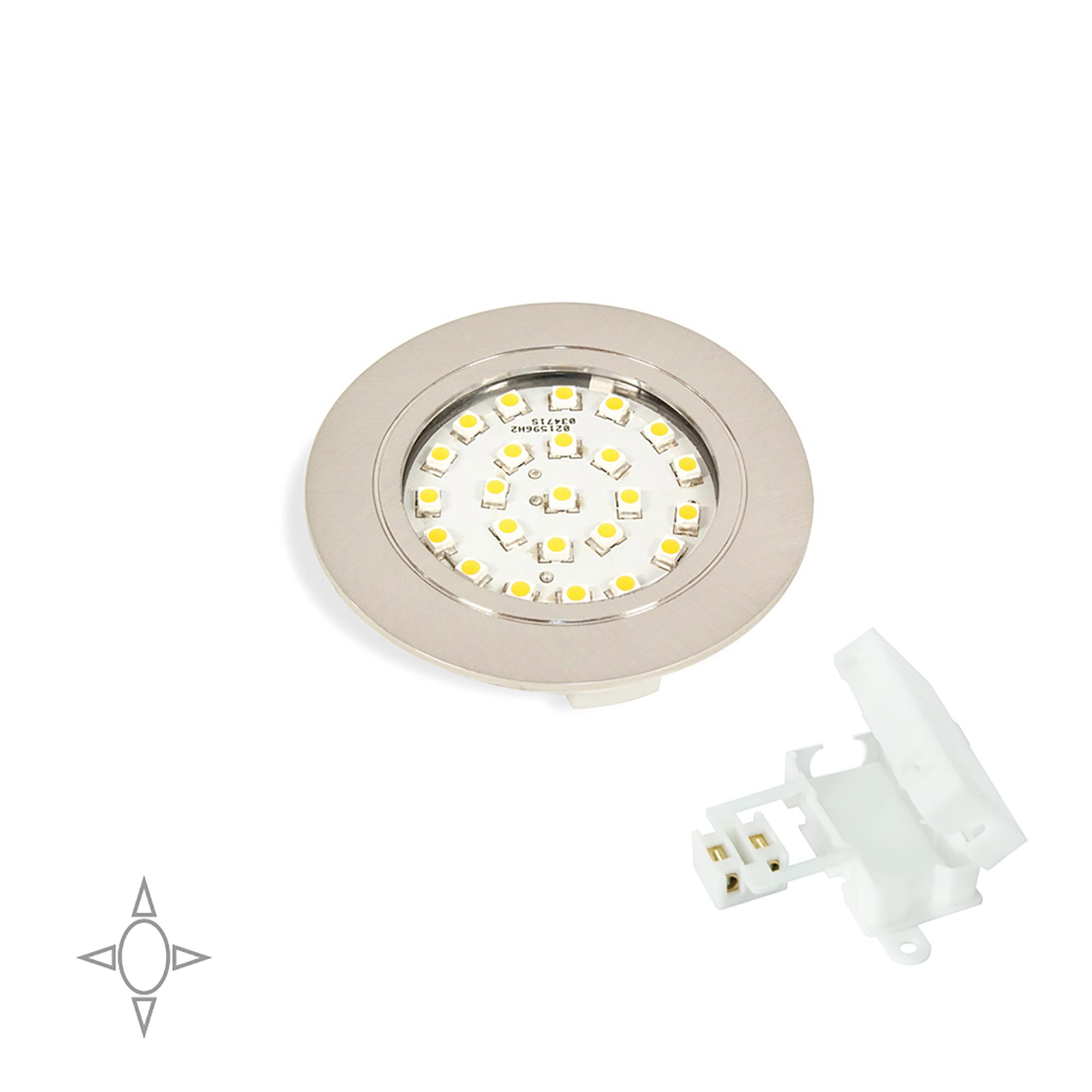 Emuca Faretto LED, D. 65 mm, a incasso, Luce bianca naturale, Plastica, Nichel satinato