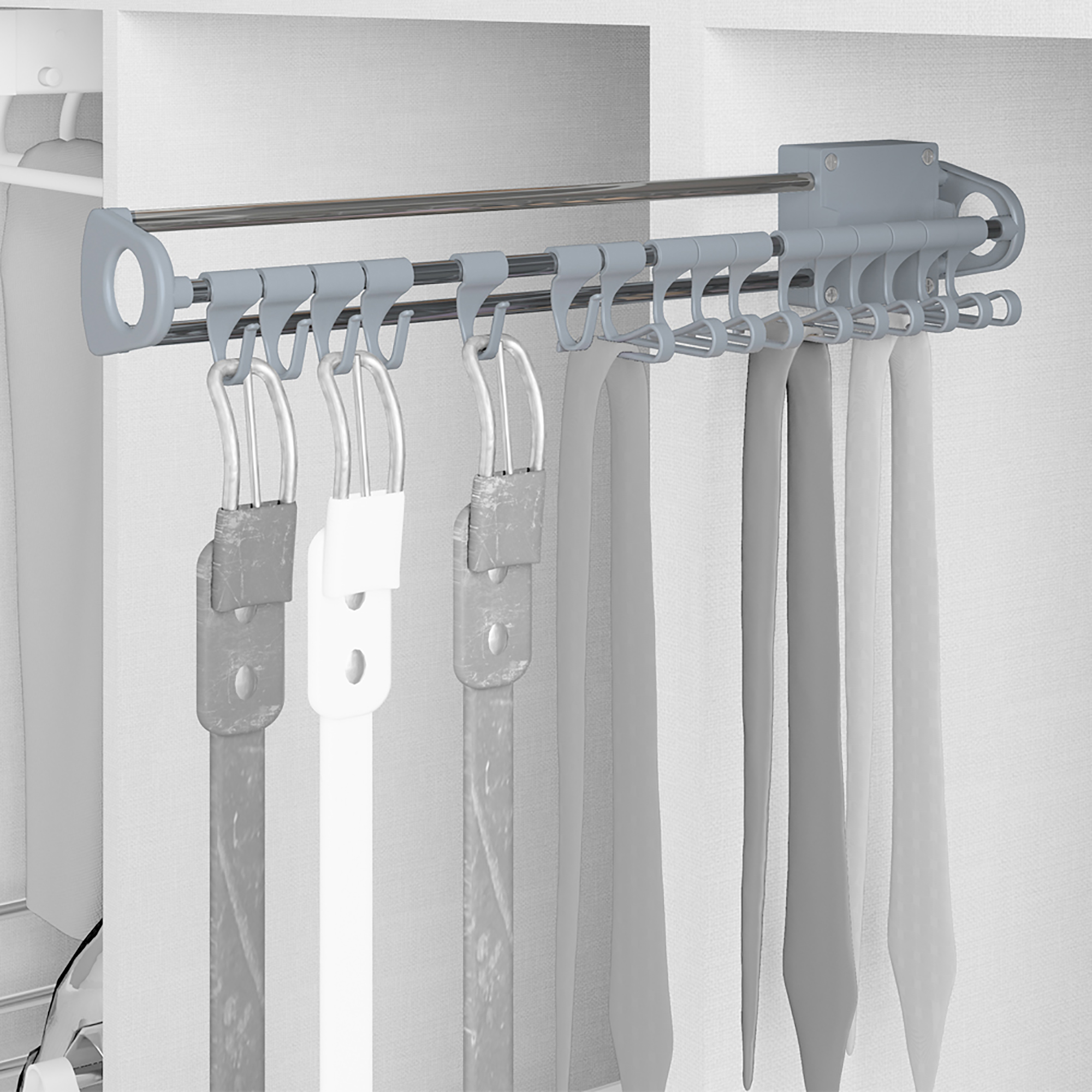 Emuca Porta cravatte laterale estraibile, Acciaio e plastica, Grigio metallizzato