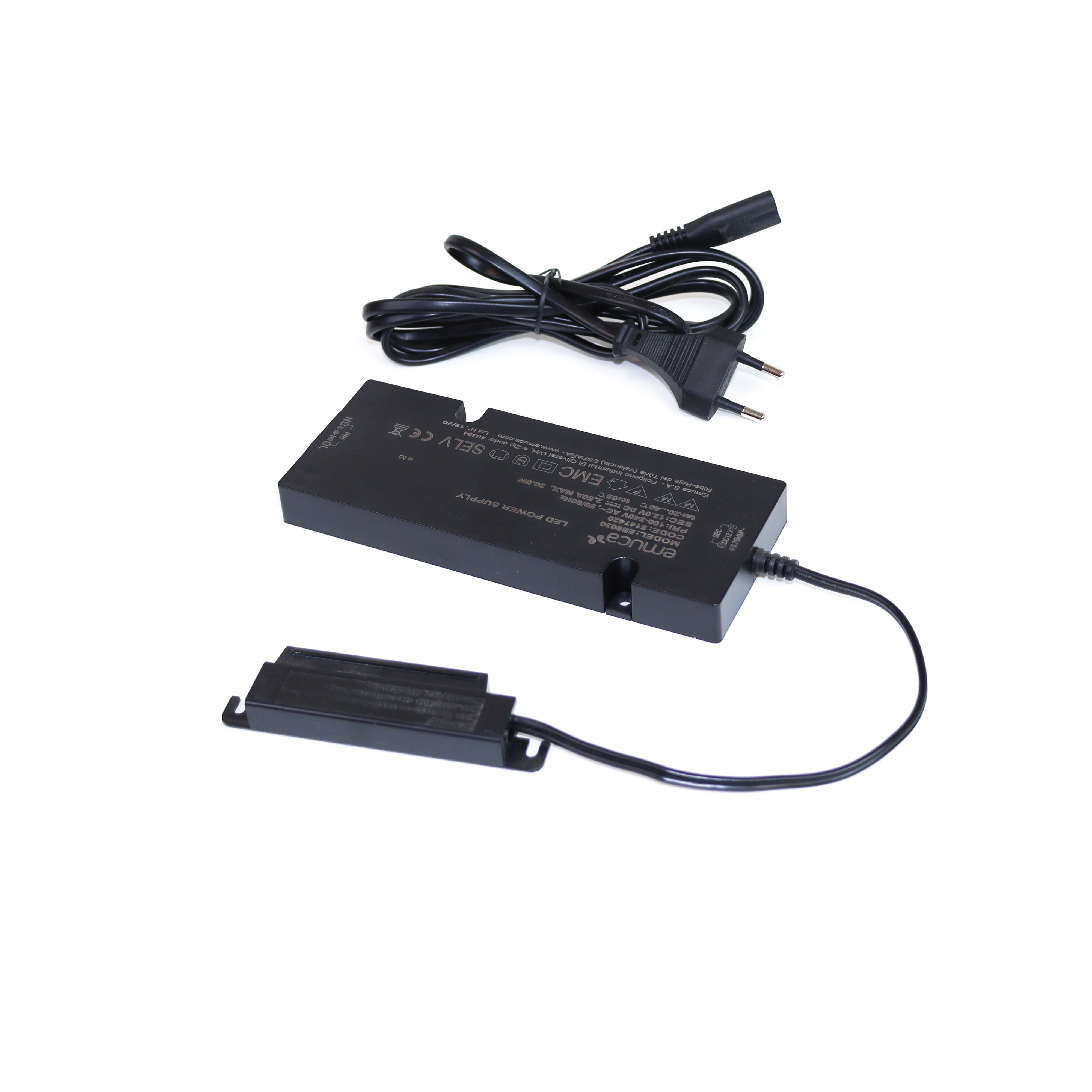Emuca Convertitore di tensione costante per illuminazioni LED, 30 W, Plastica, Nero