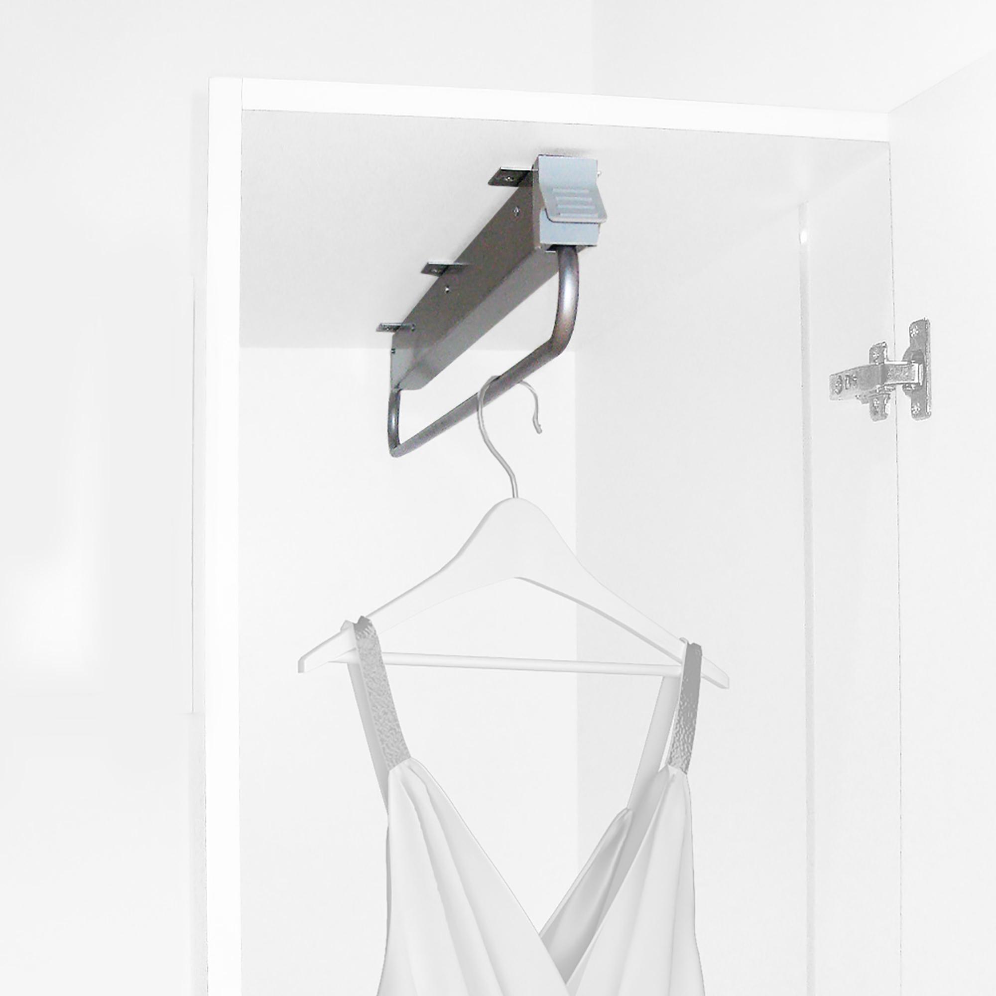 Emuca Appendiabiti estraibile per armadio, 800 mm, Acciaio e plastica, Grigio metallizzato