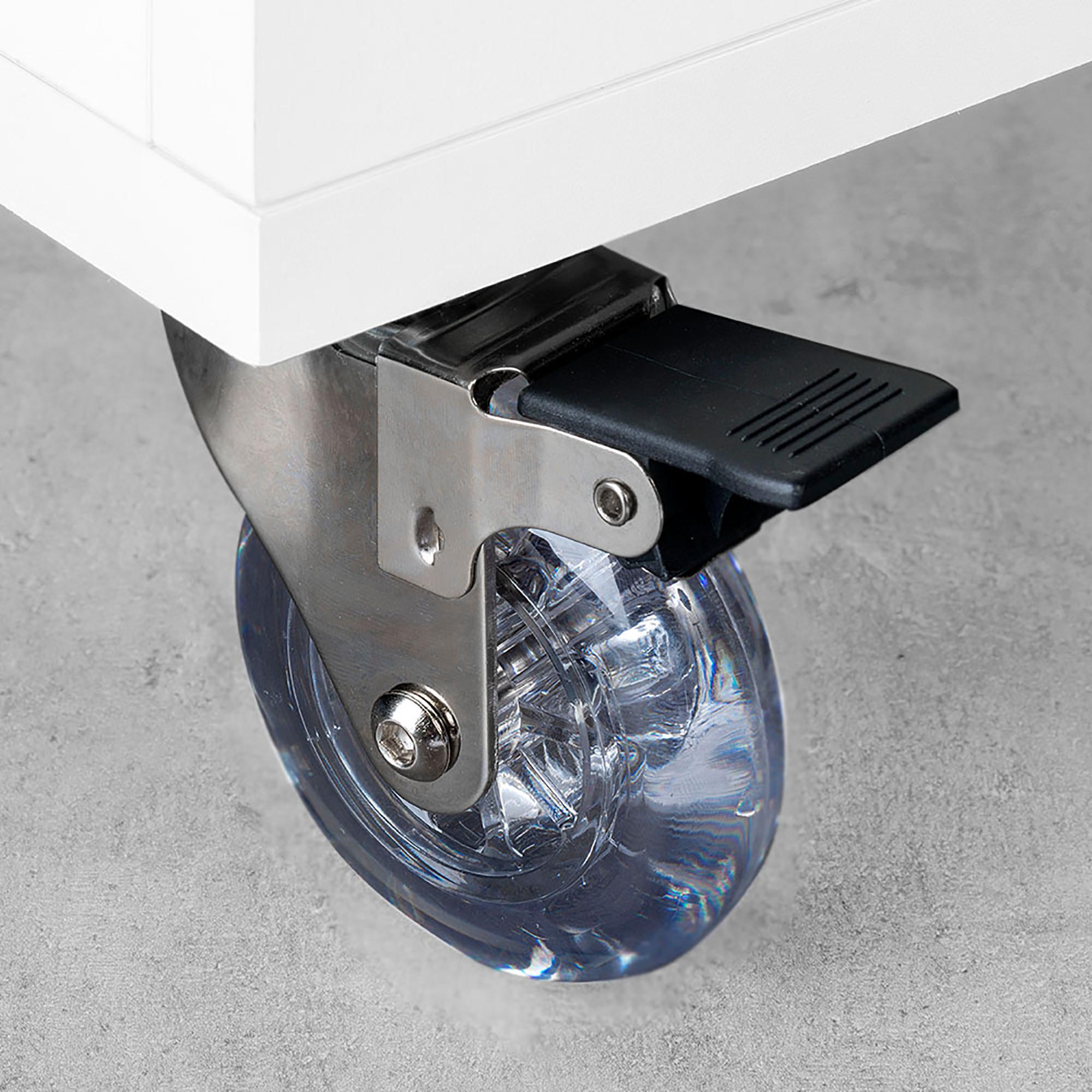 Emuca Ruote Slip con piastra per montaggio, D.75 mm, Acciaio e plastica, Trasparenti, 4 u.