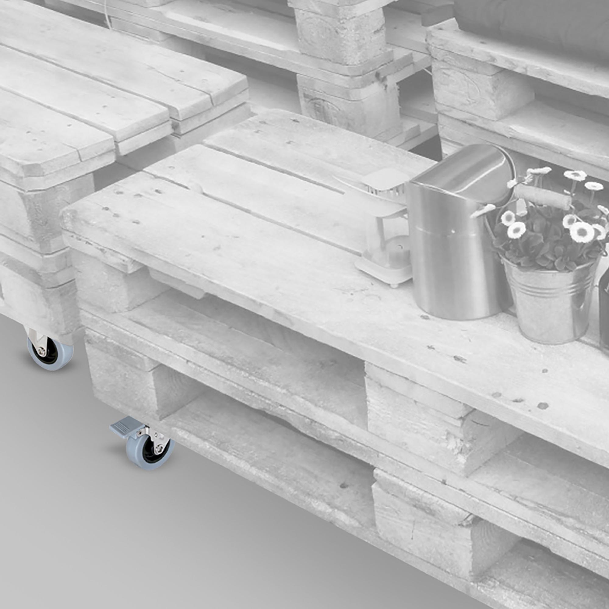 Emuca Ruote con piastra per montaggio, D. 75 mm, Acciaio e plastica, Grigio, 4 u.