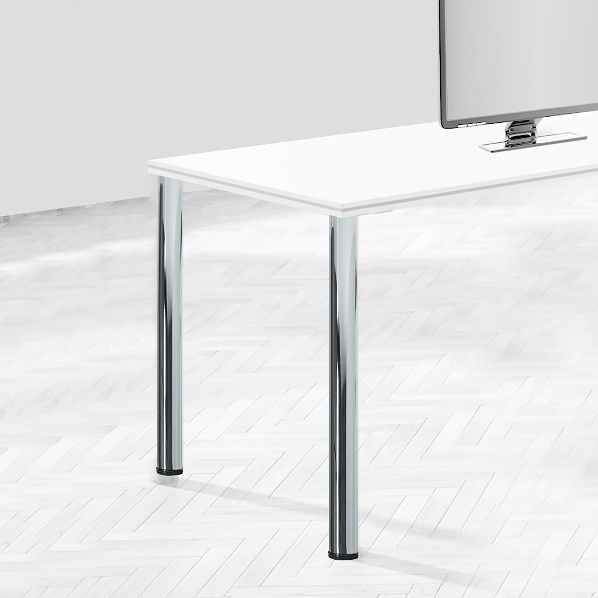 Emuca Gamba per tavolo, D. 60mm, regolabile 870-890 mm, Acciaio, Grigio metallizzato