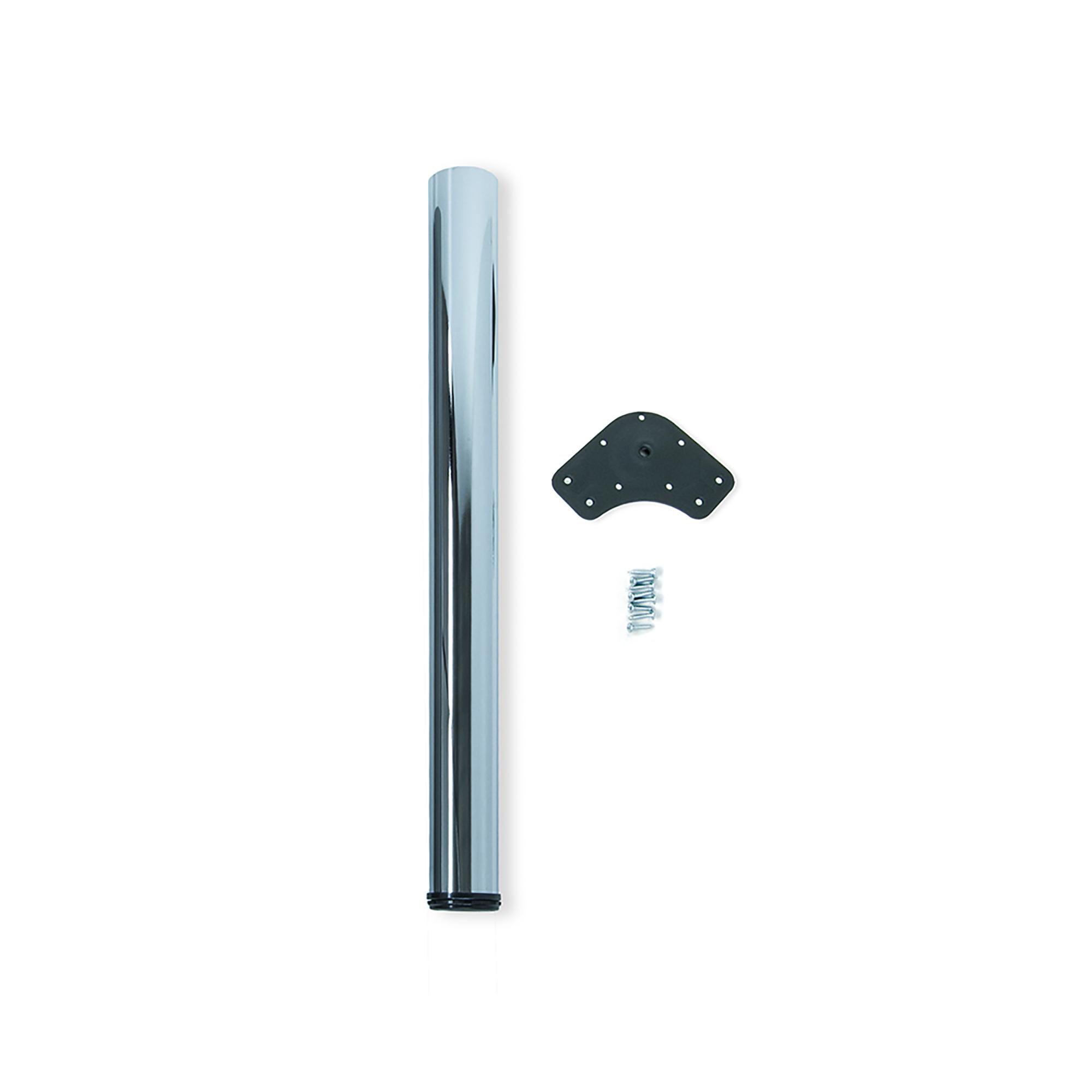 Emuca Gamba per tavolo, D. 80 mm, regolabile 710-740 mm, Acciaio, Cromo