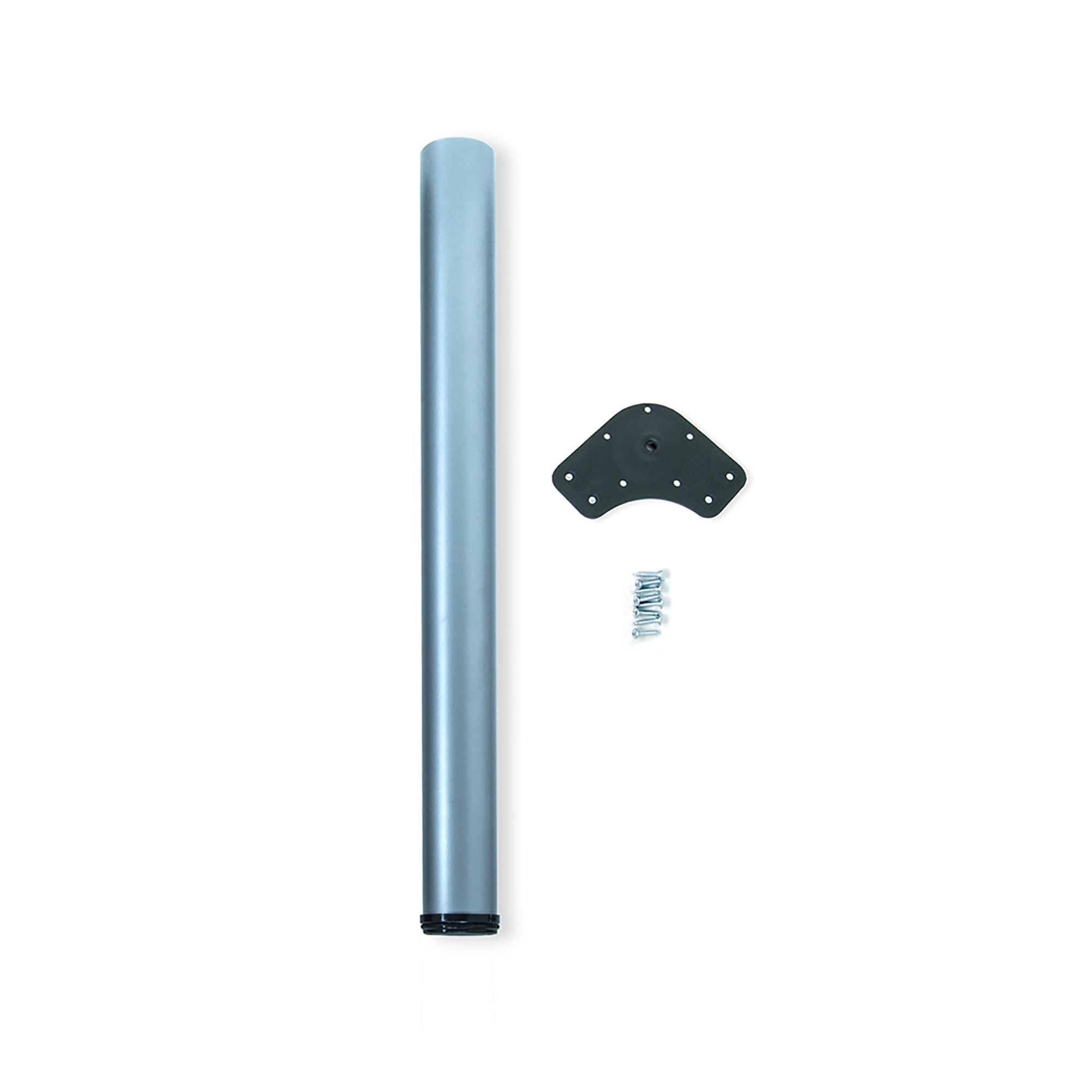 Emuca Gamba per tavolo, D. 80 mm, regolabile 710-740 mm, Acciaio, Grigio metallizzato