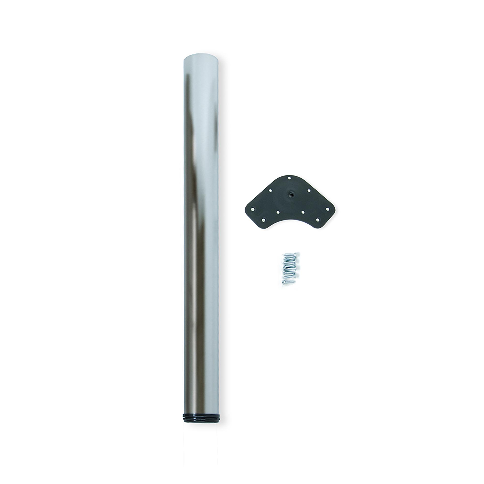 Emuca Gamba per tavolo, D. 80 mm, regolabile 710-740 mm, Acciaio, Nichel satinato