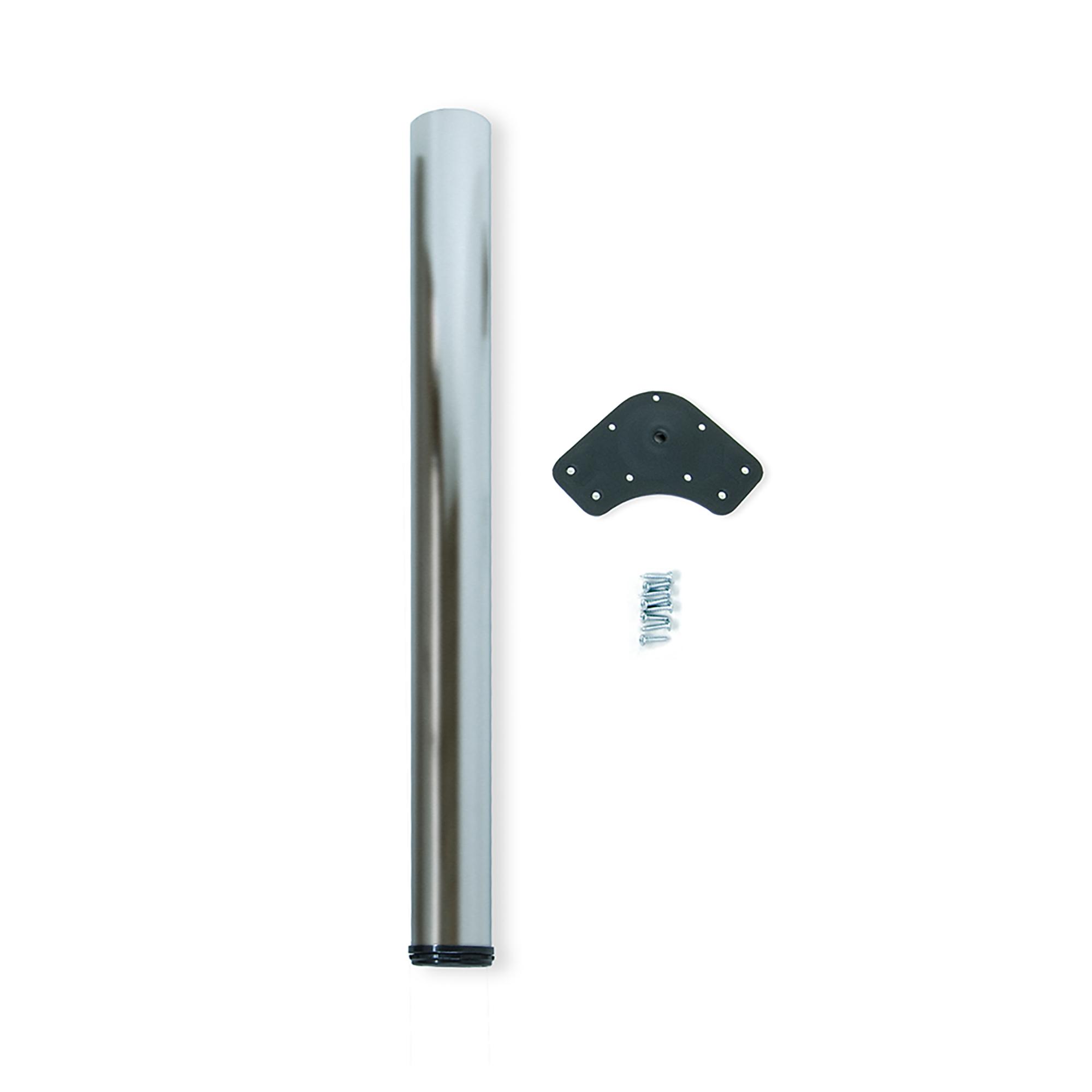 Emuca Gamba per tavolo, D. 80 mm, regolabile 870-900 mm, Acciaio, Nichel satinato