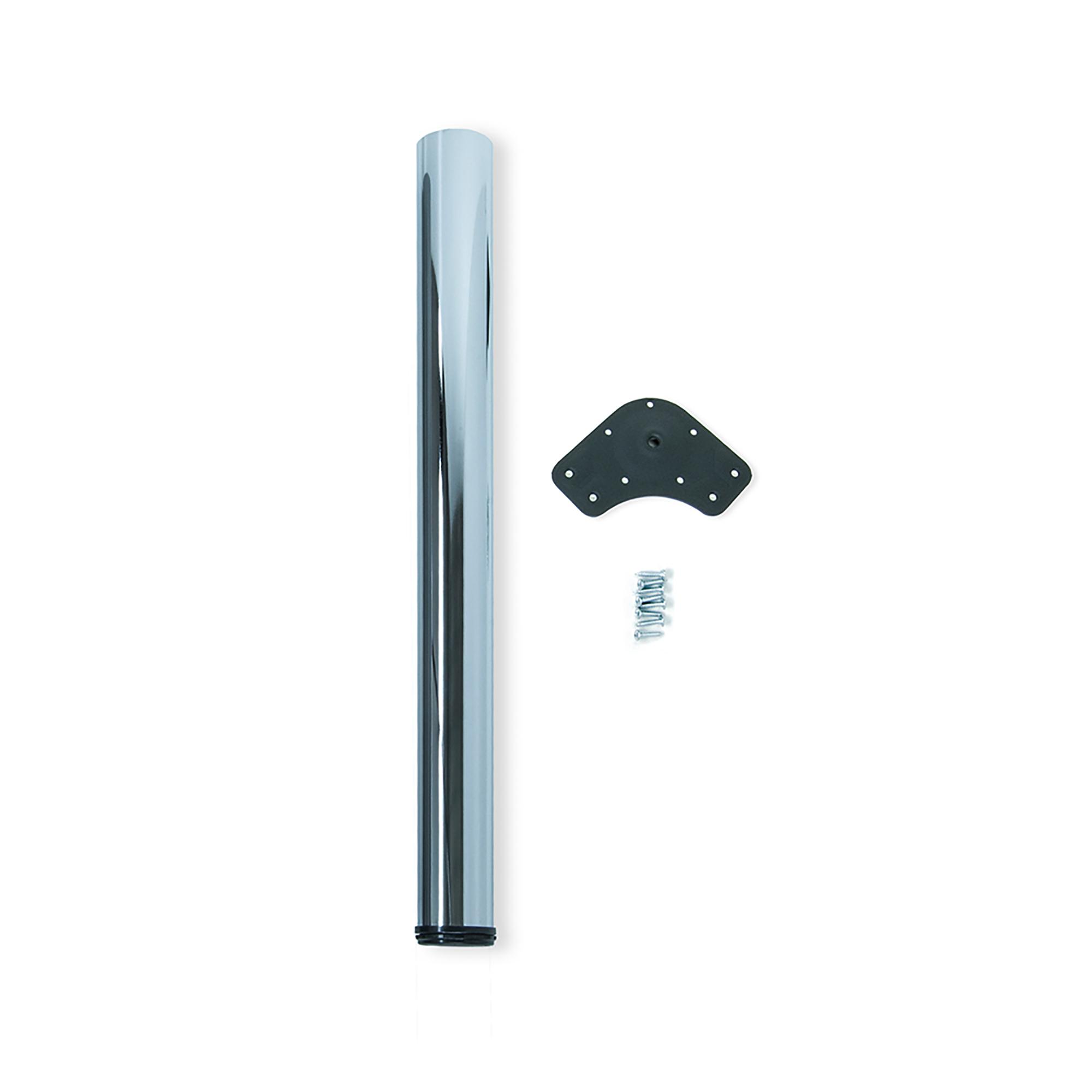 Emuca Gamba per tavolo, D. 80 mm, regolabile 1.100-1.130 mm, Acciaio, Cromo