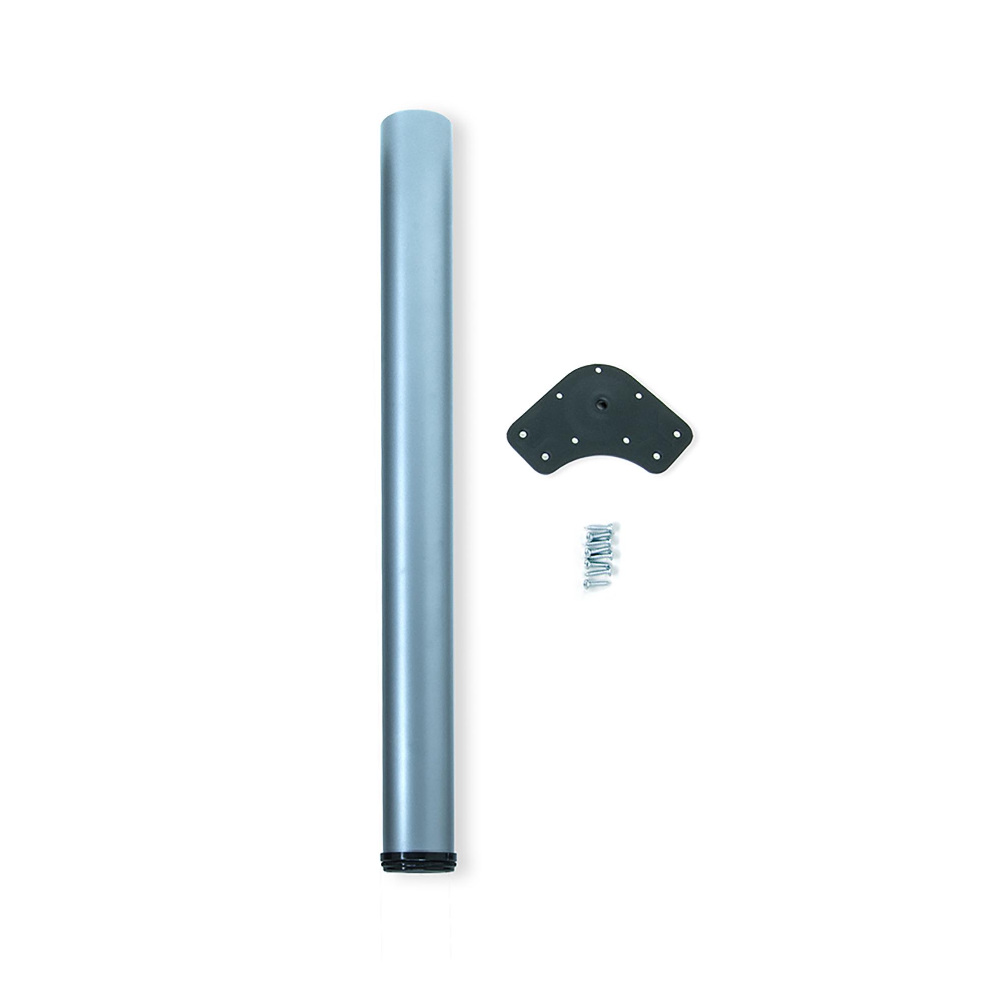 Emuca Gamba per tavolo, D. 80 mm, regolabile 1.100-1.130 mm, Acciaio, Grigio metallizzato