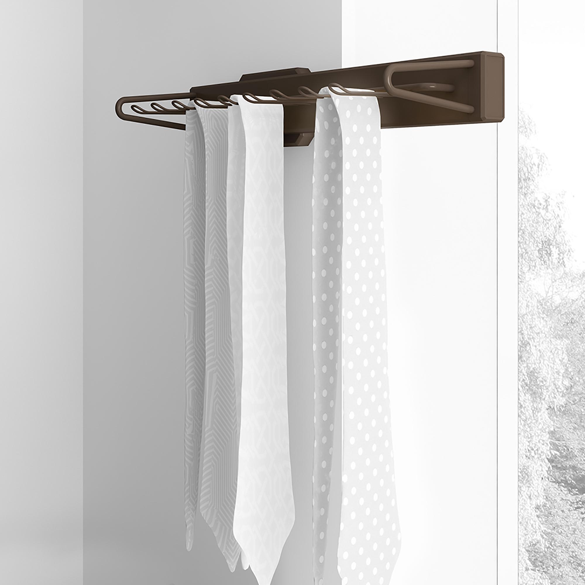 Emuca Porta cravatte laterale estraibile, chiusura soft, Alluminio e plastica, Color moka