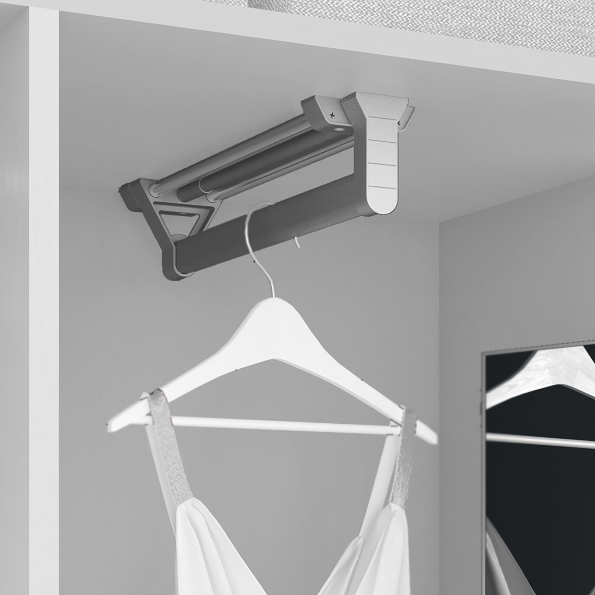 Emuca Appendiabiti estraibile per armadio, 350 mm, Alluminio e plastica, Anodizzato opaco