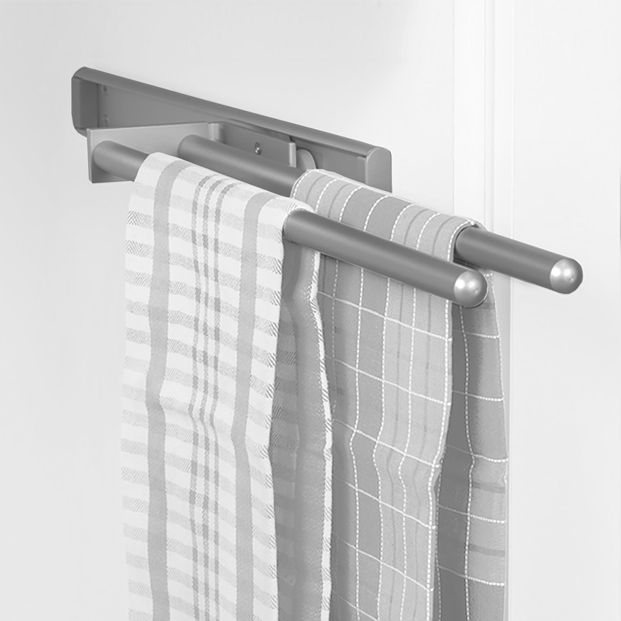 Emuca Porta asciugamani estraibile, 2 bracci, 310 mm, Alluminio, Anodizzato opaco