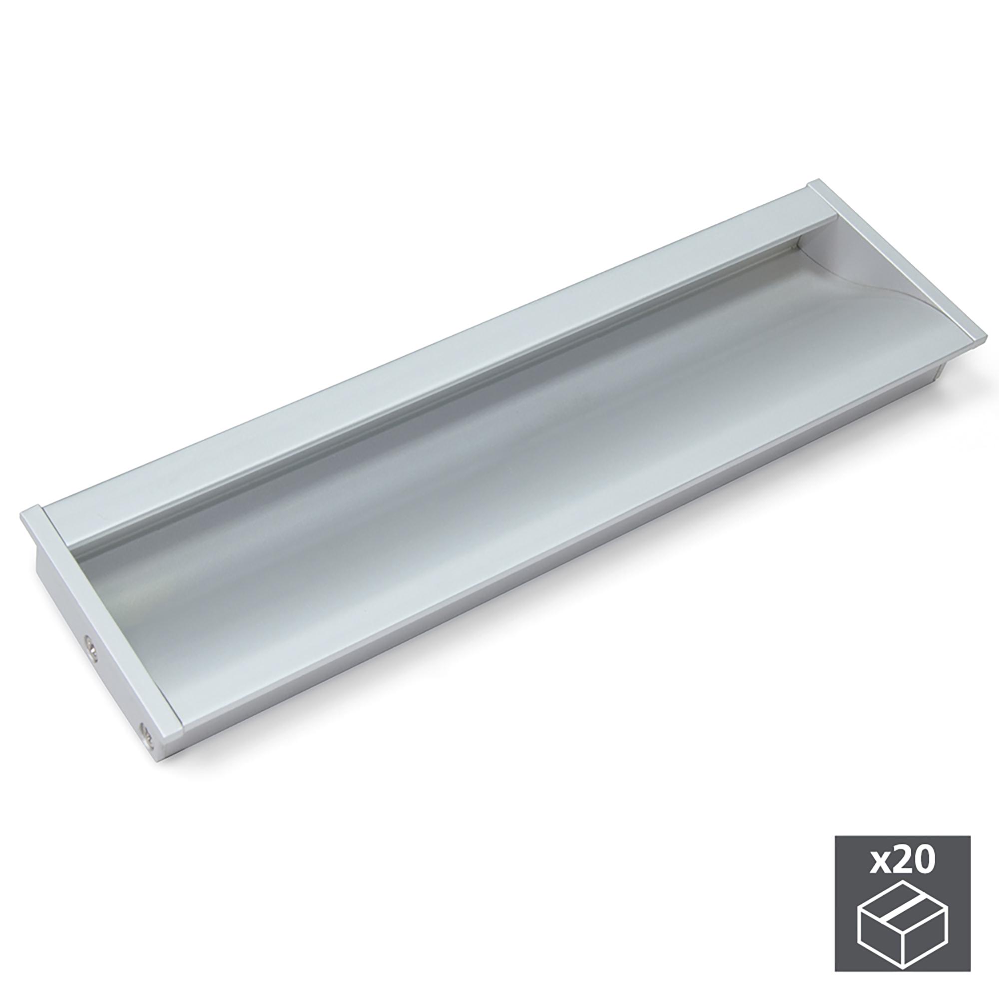 Emuca Maniglie per mobile, interasse 160 mm, Alluminio, Anodizzato opaco, 20 u.