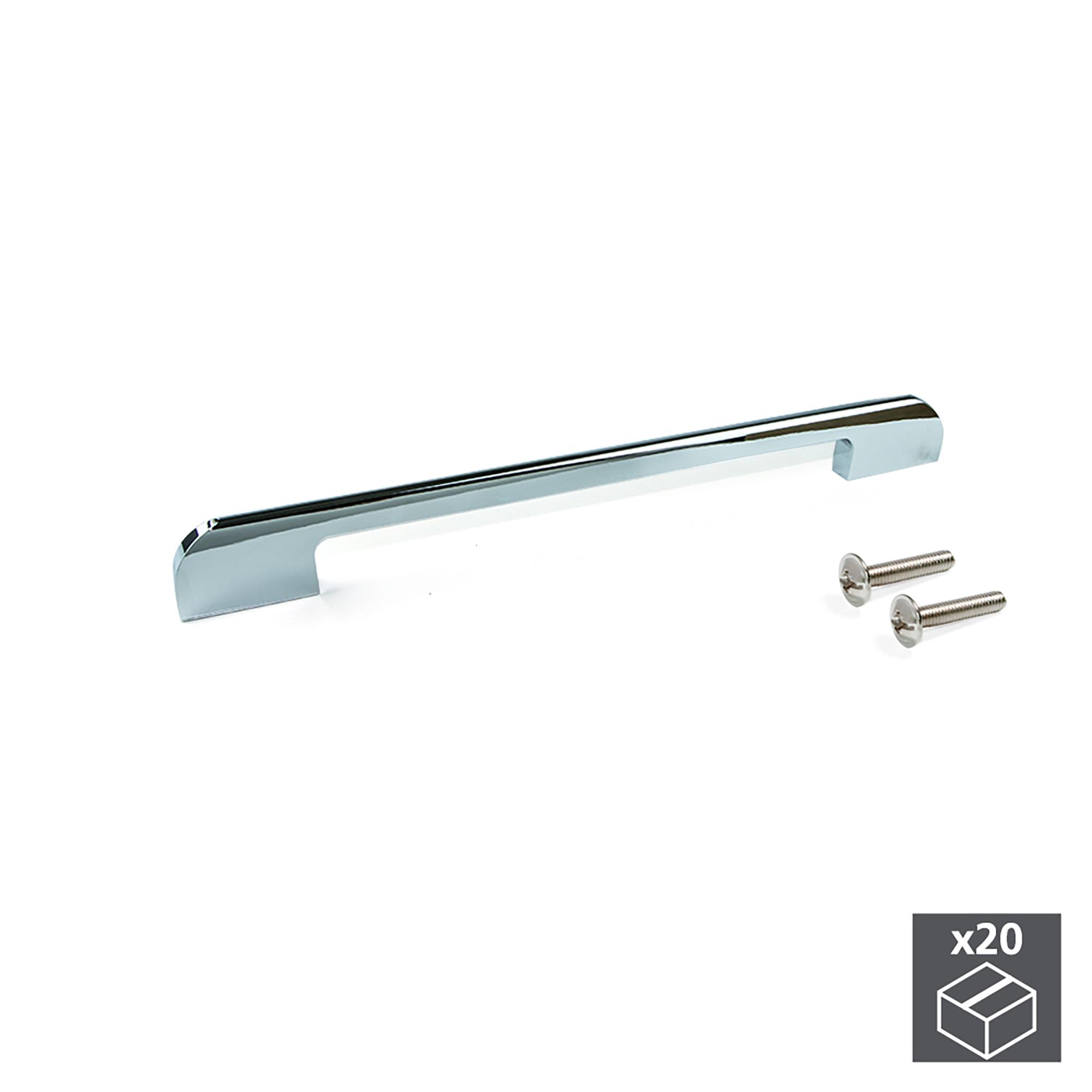 Emuca Maniglie per mobile, interasse 160 mm, Alluminio, Cromo, 20 u.