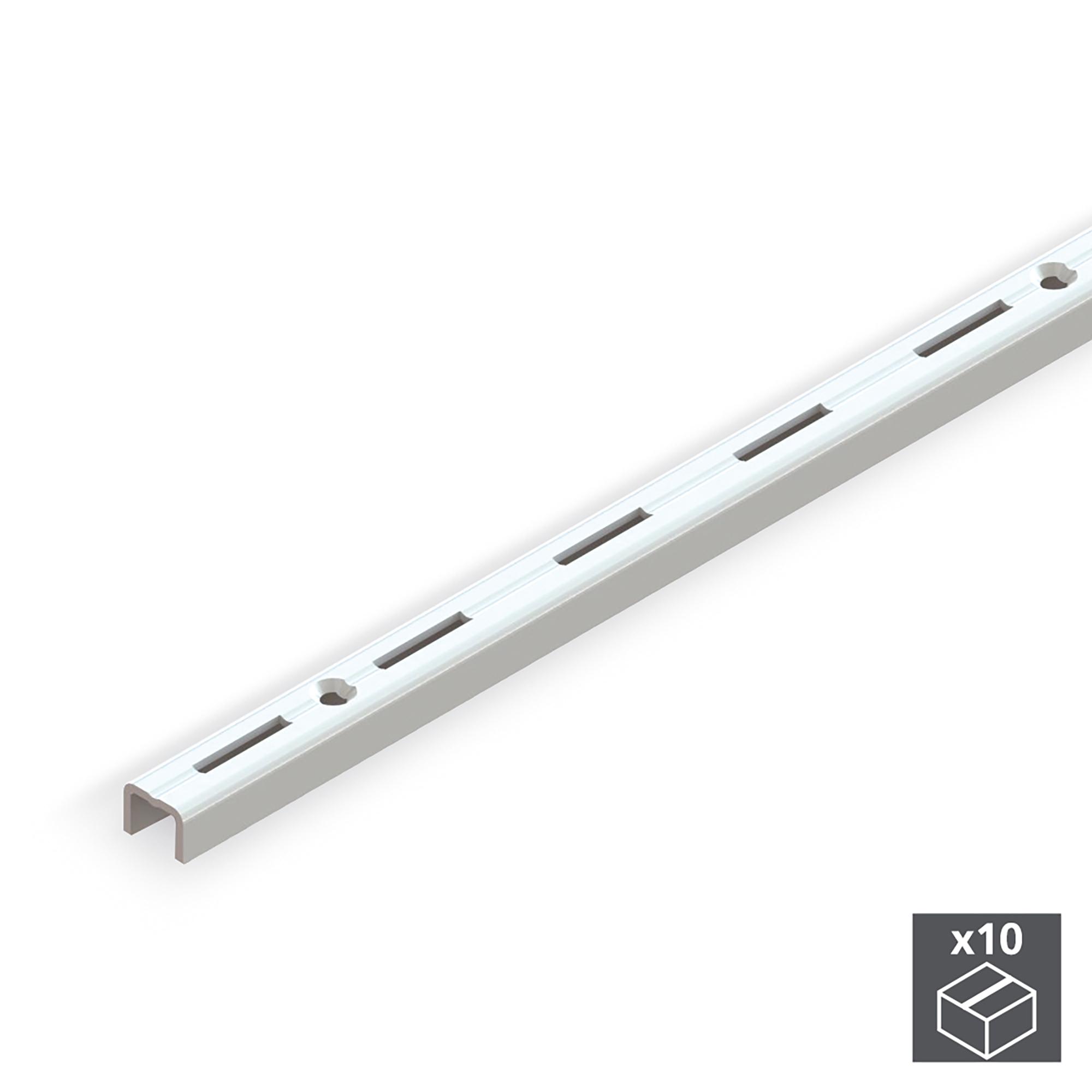 Emuca Profili da armadio, cremagliera semplice, passo 50 mm, 1000 mm, Acciaio, Bianco, 10 u.