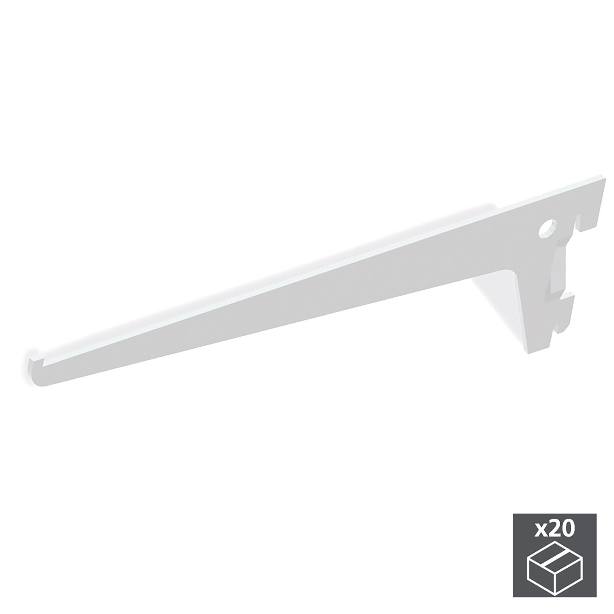 Emuca Supporto per ripiano di legno/vetro, profilo a passo 50 mm, 300 mm, Acciaio, Bianco, 20 u.