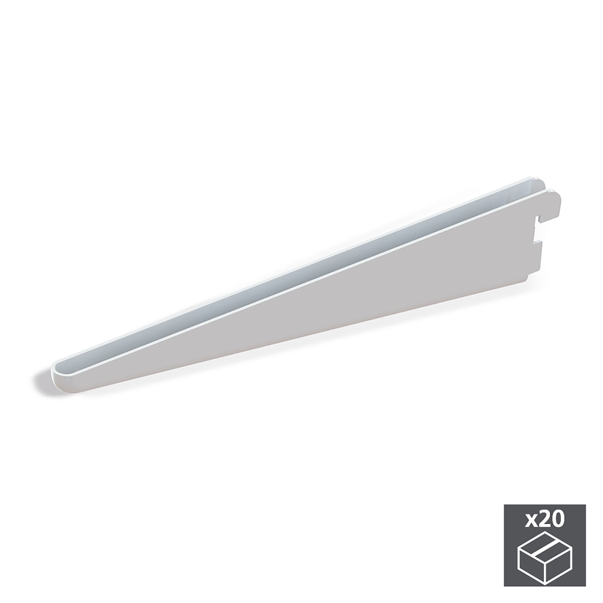 Emuca Supporto per ripiani di legno/vetro, profilo a passo 32 mm, 170 mm, Acciaio, Bianco, 20 u.