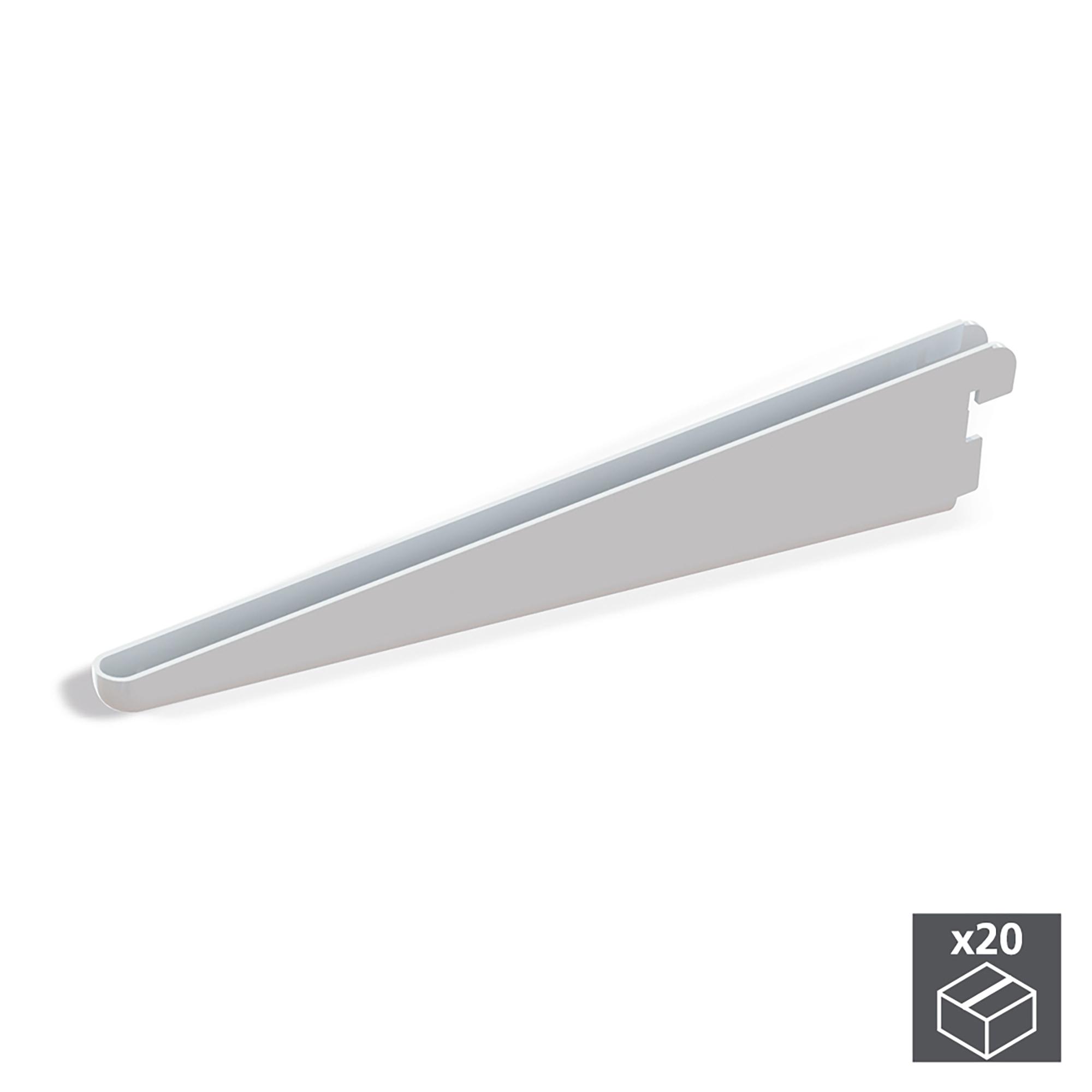 Emuca Supporto per ripiani di legno/vetro, profilo a passo 32 mm, 220 mm, Acciaio, Bianco, 20 u.