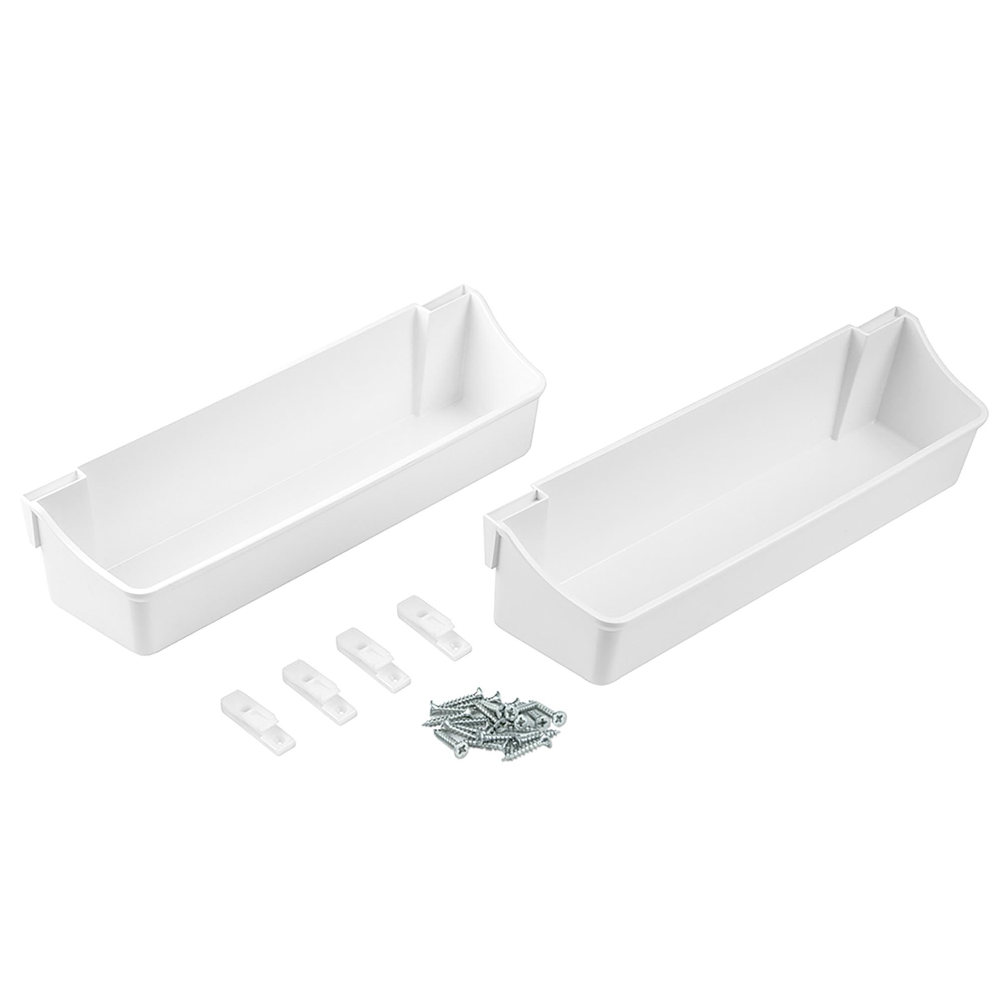 Emuca Contenitori con fissaggio anta mobile, 350 mm, Plastica, Bianco, 2 u.