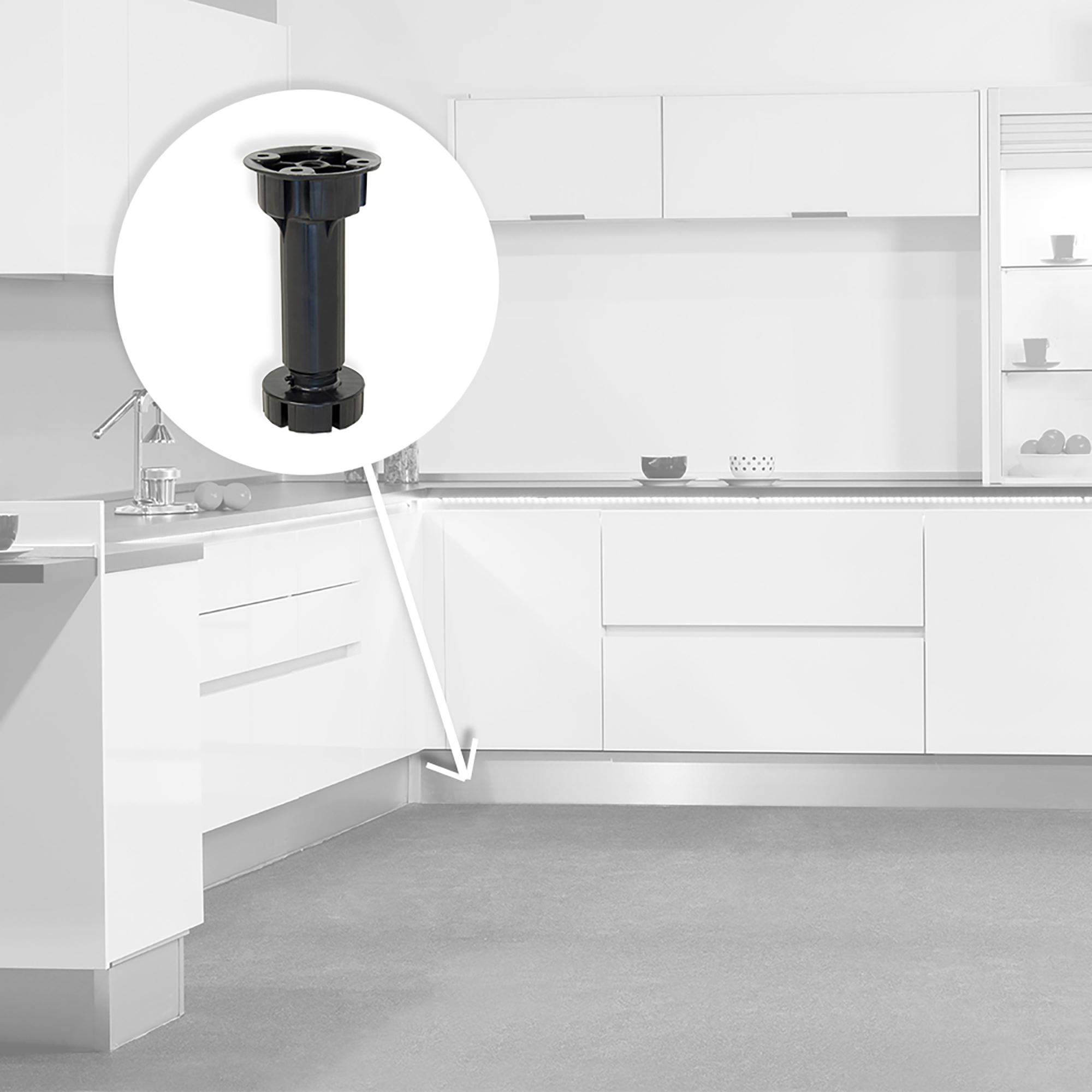 Emuca Piedino livellatore con base pre-assemblata per mobile, regolabile 98-115 mm, Plastica, Nero, 4 u.