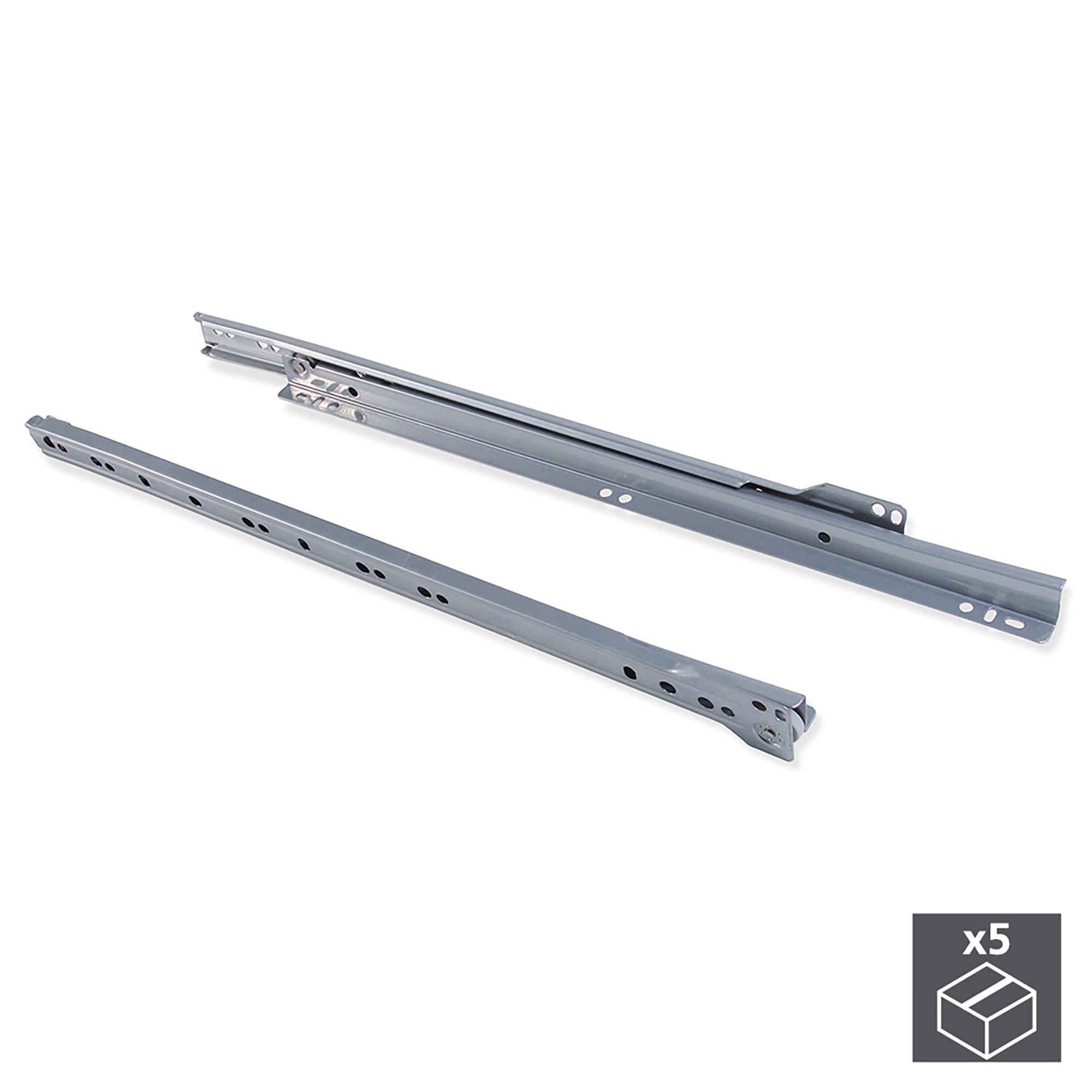 Emuca Kit Guide a rotella per cassetti, chiusura con caduta, 450 mm, a estrazione parziale, Grigio metallizzato, 5 u.