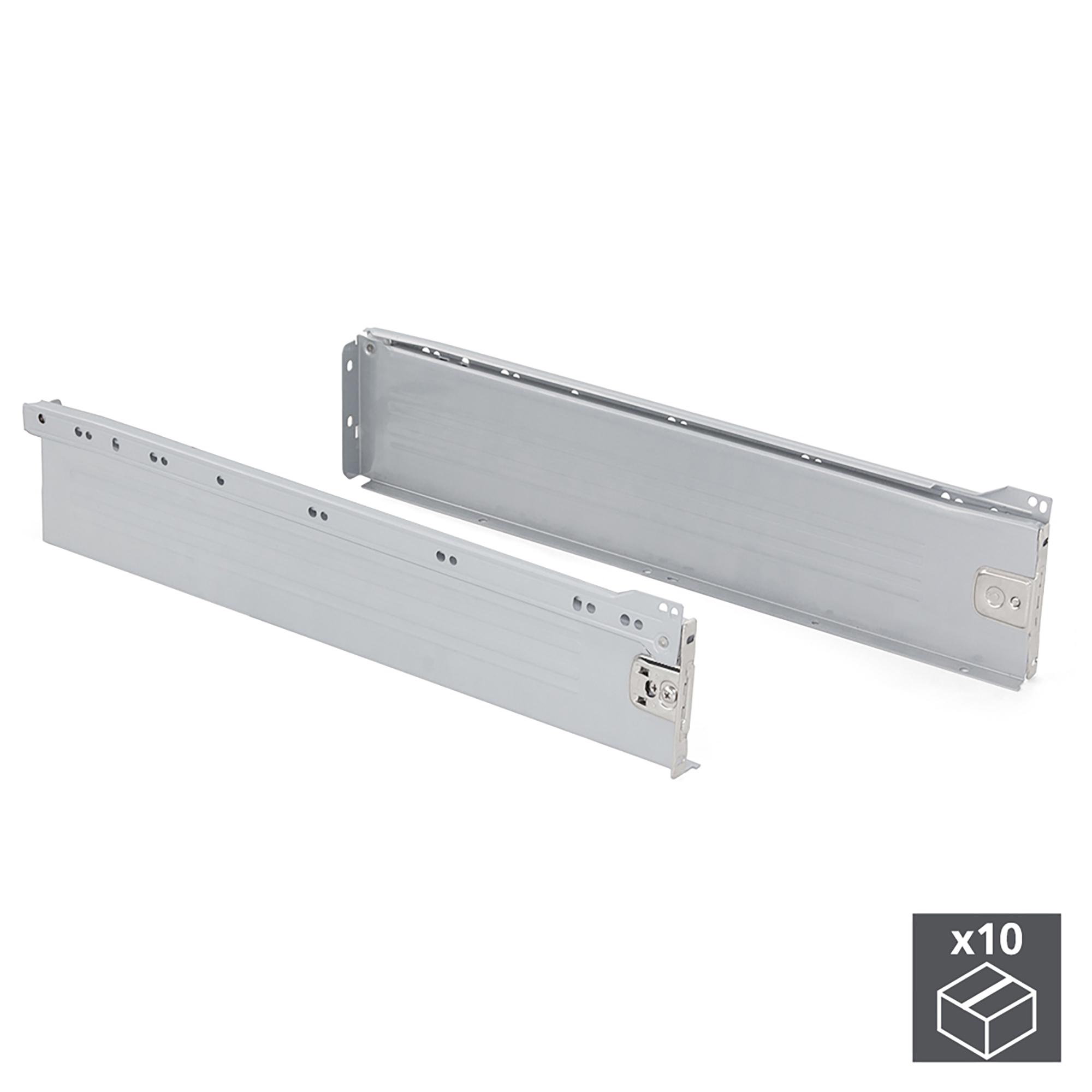 Emuca Kit cassetto per cucina Ultrabox, altezza 118 mm, prof. 500 mm, Acciaio, Grigio metallizzato, 10 u.