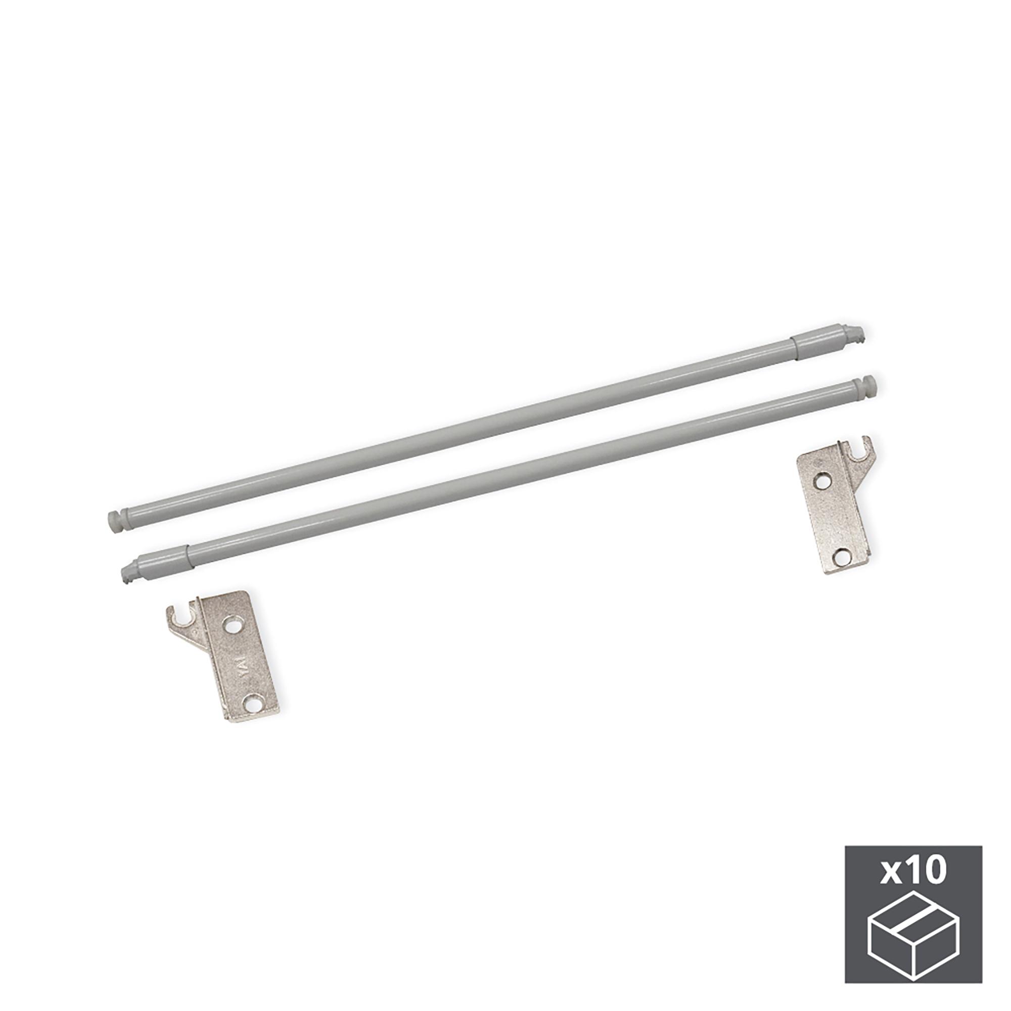Emuca Kit Astine per cassetti Ultrabox, D. 10 mm, Prof. 450 mm, Acciaio, Grigio metallizzato, 10 u.