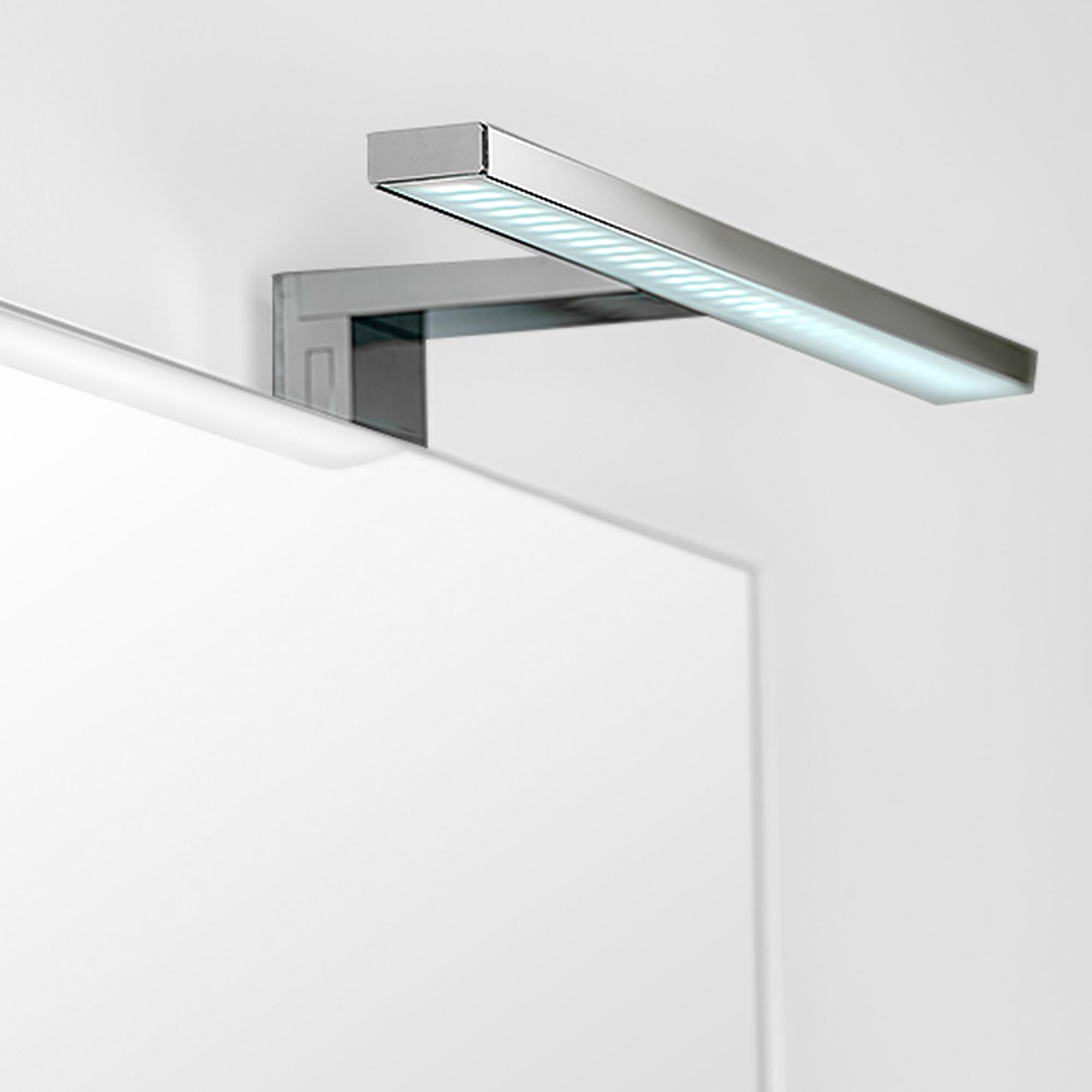 Emuca Applique LED per specchio di bagno, 450 mm, IP44, luce bianca fredda, Alluminio e Plastica, Cromo