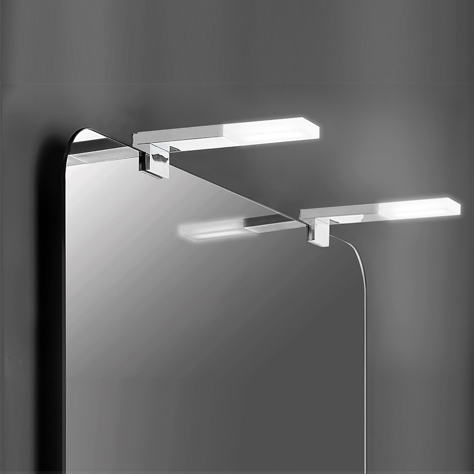 Emuca Applique LED per specchio di bagno, 40 mm, IP44, Luce bianca fredda, Alluminio e Plastica, Cromo