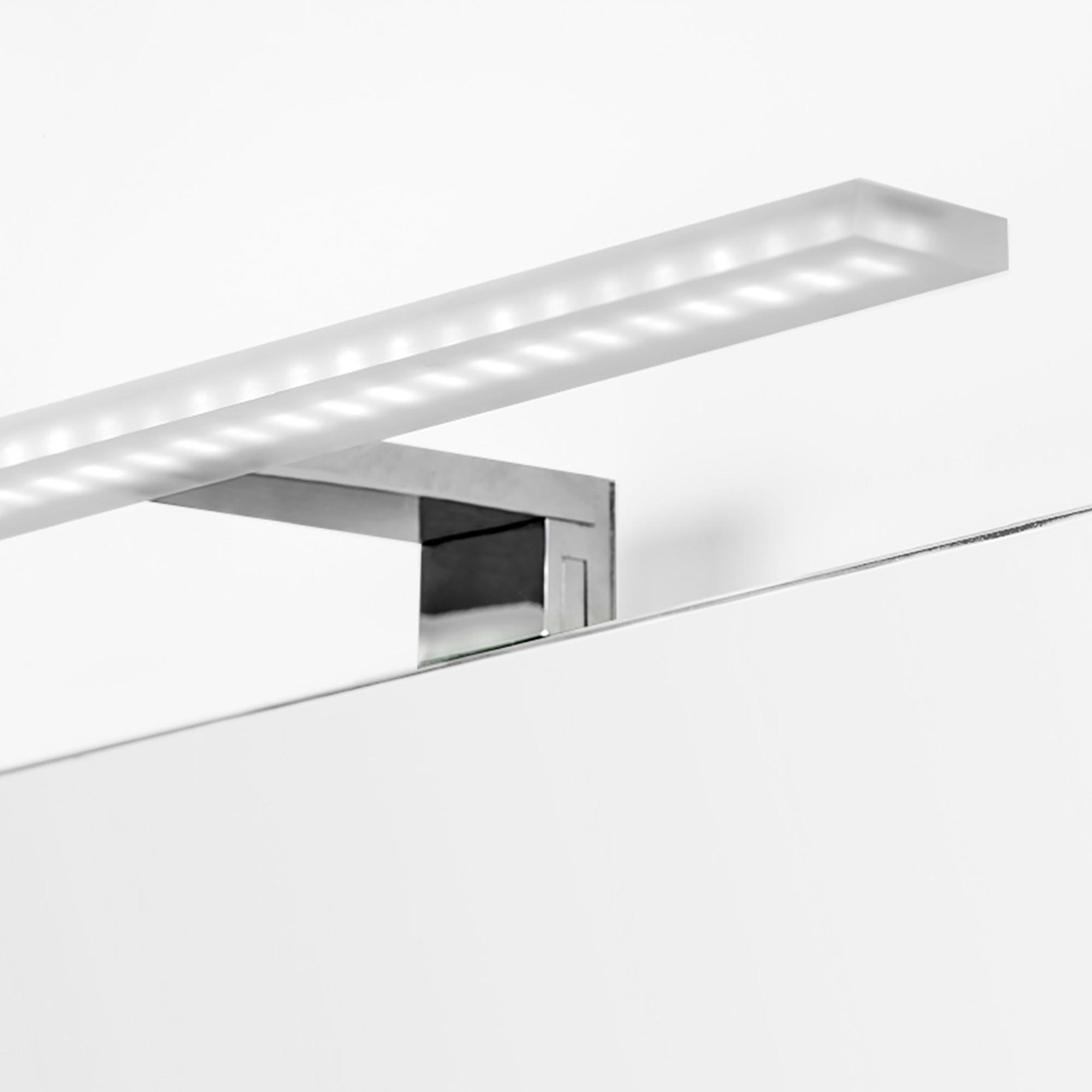 Emuca Applique LED per specchio di bagno, 300 mm, IP44, luce bianca fredda, Alluminio e Plastica, Cromo