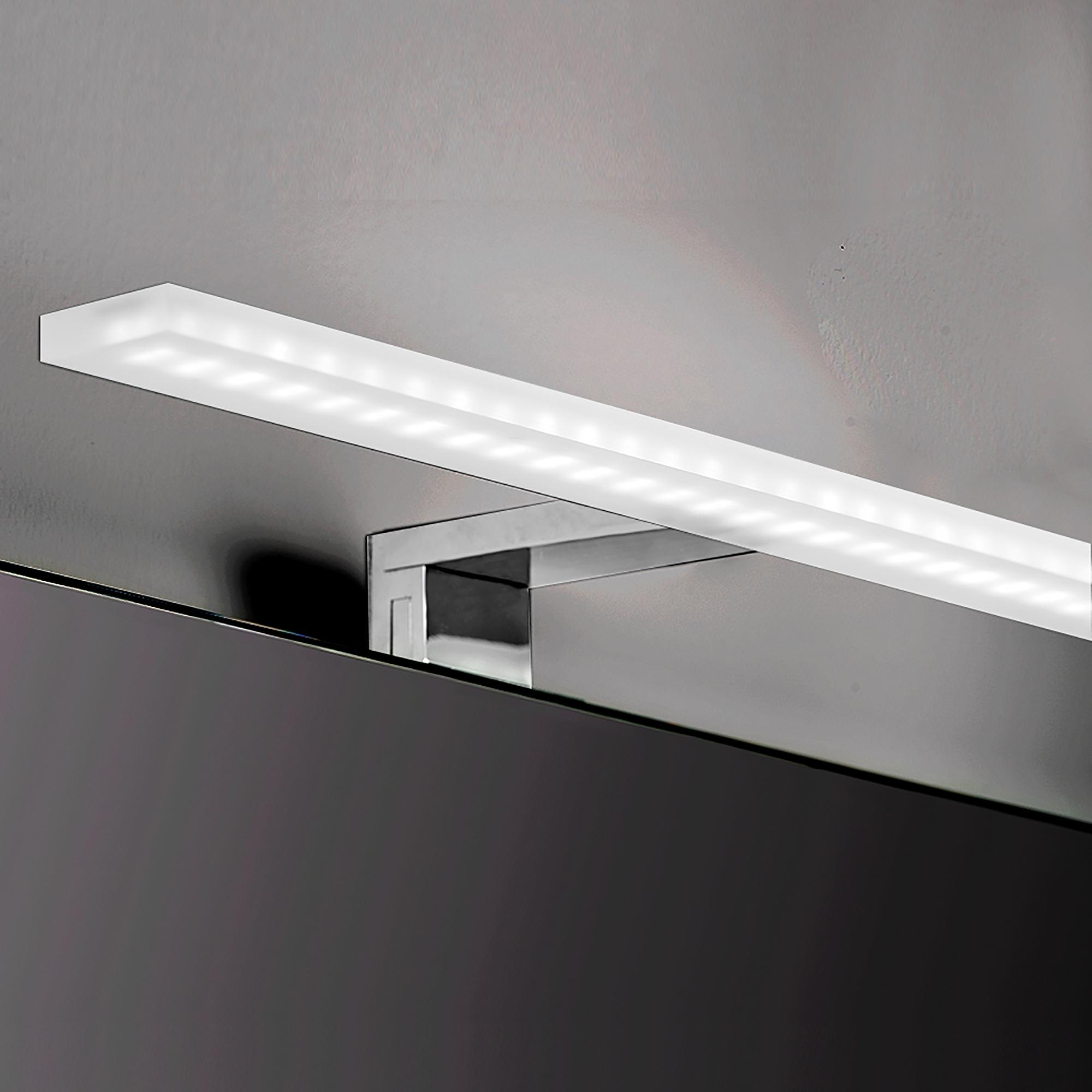 Emuca Applique LED per specchio di bagno, 800 mm, IP44, Luce bianca fredda, Alluminio e Plastica, Cromo