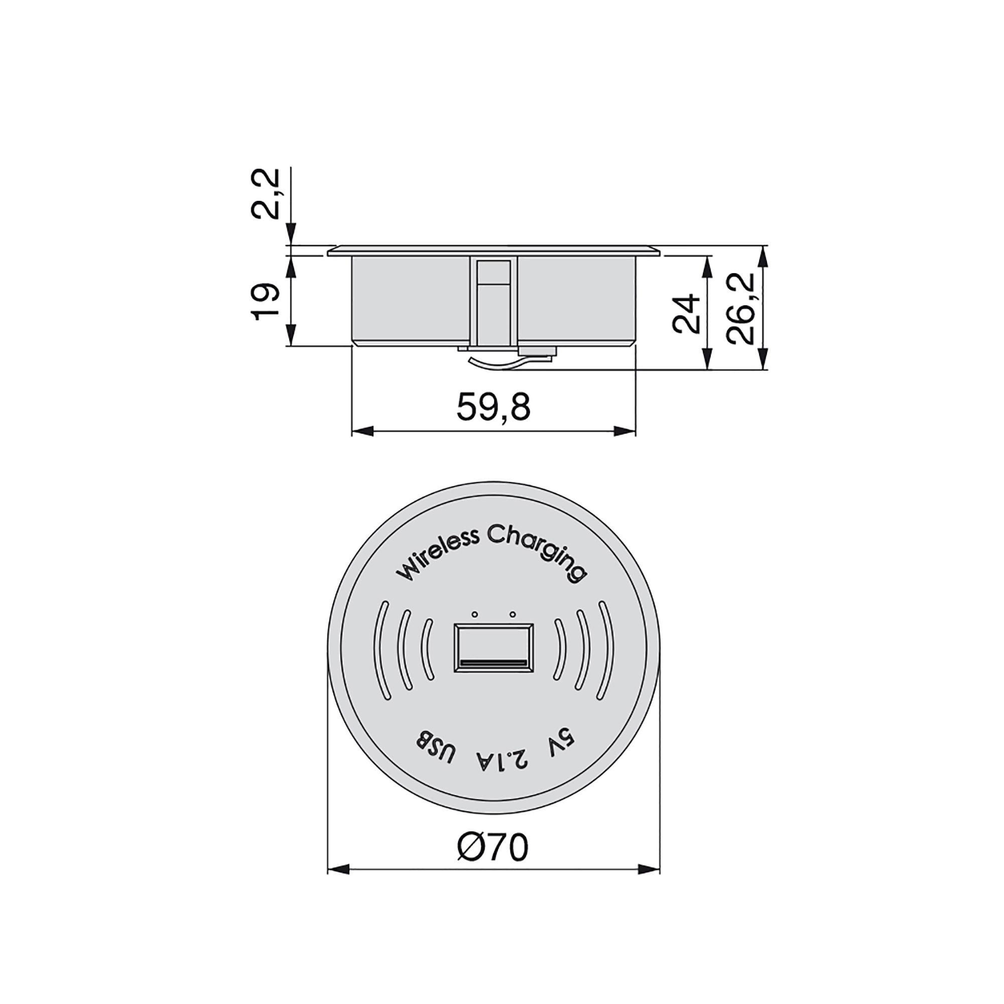 Emuca Caricabatterie wireless, USB, a incasso, D. 70 mm, Plastica, Nero