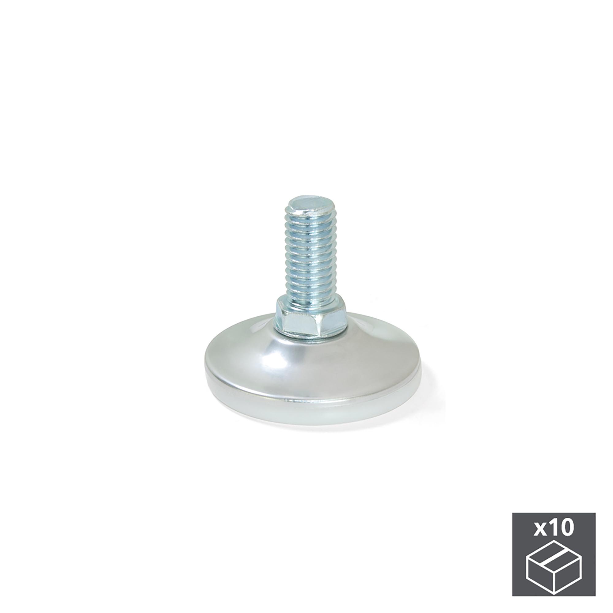 Emuca Regolabili per mobile, base circolare, M10, D. 43 mm, altezza 37 mm, Acciaio, 10 u.